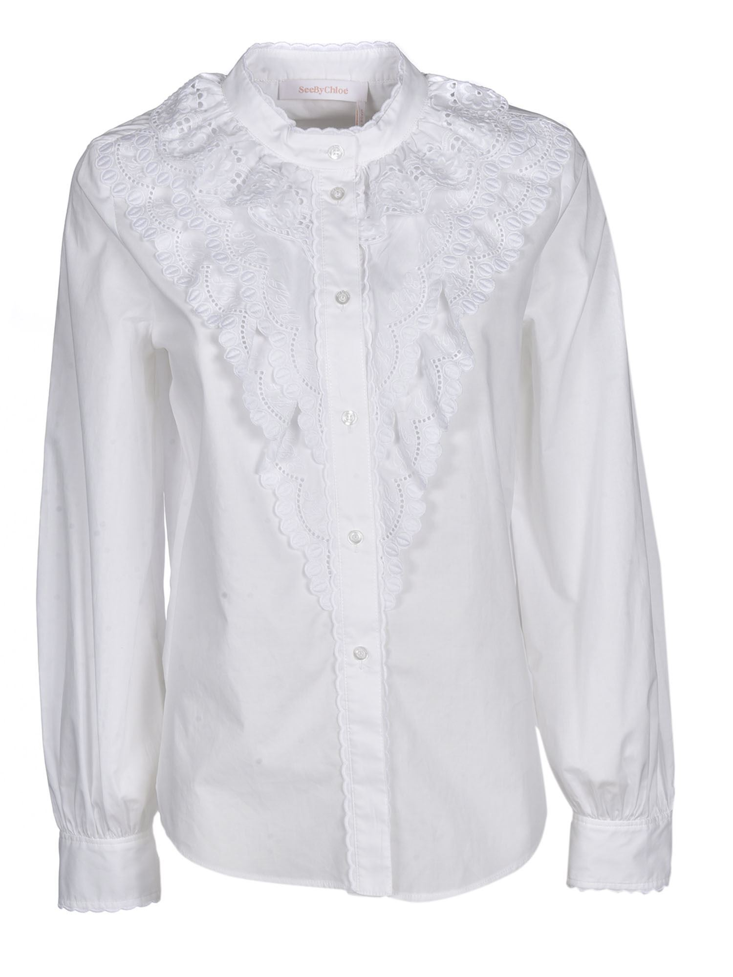 See By Chloé RUFFLE SHIRT IN WHITE