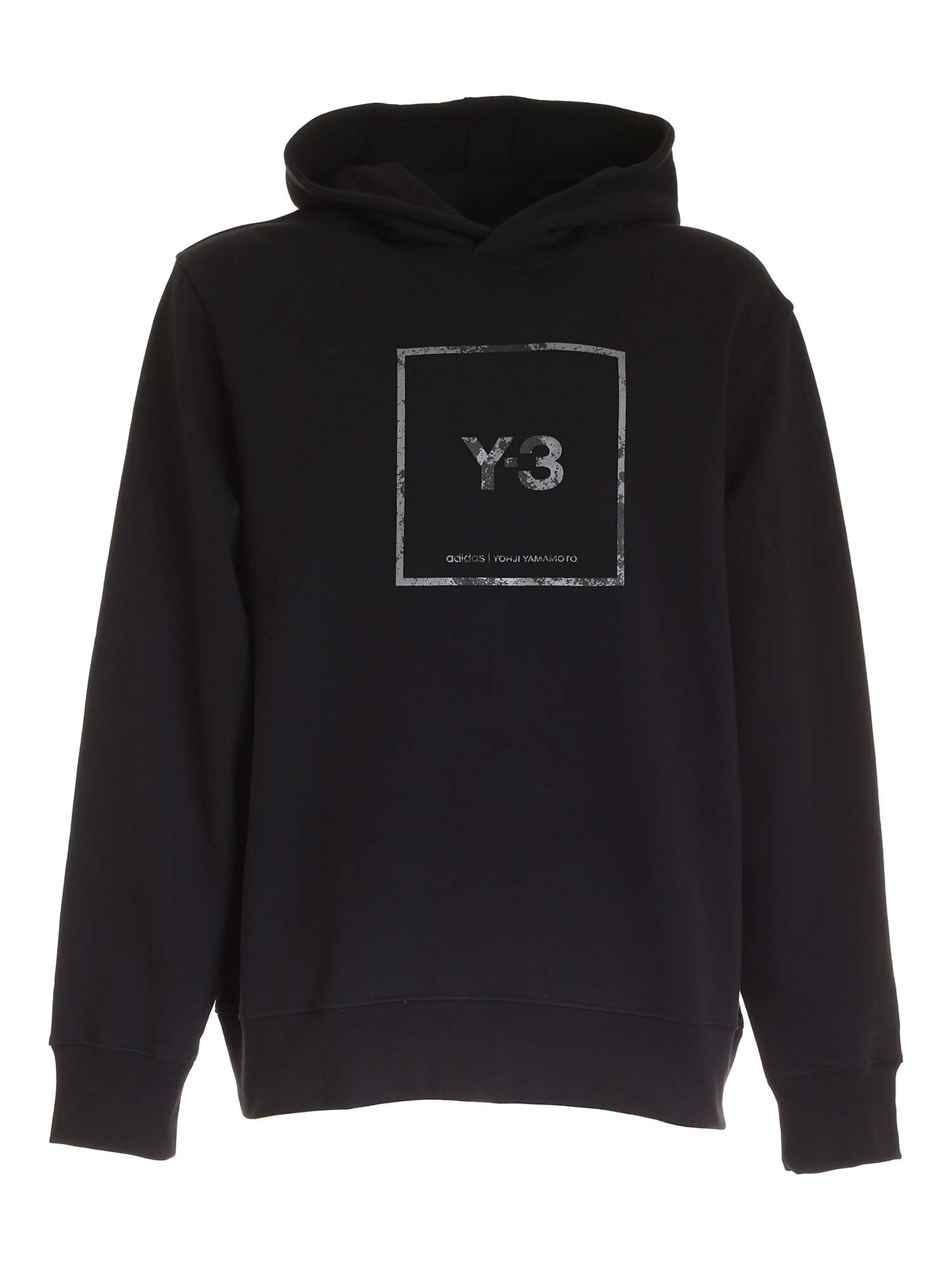 Y-3 OVER HOODED SWEATSHIRT IN BLACK
