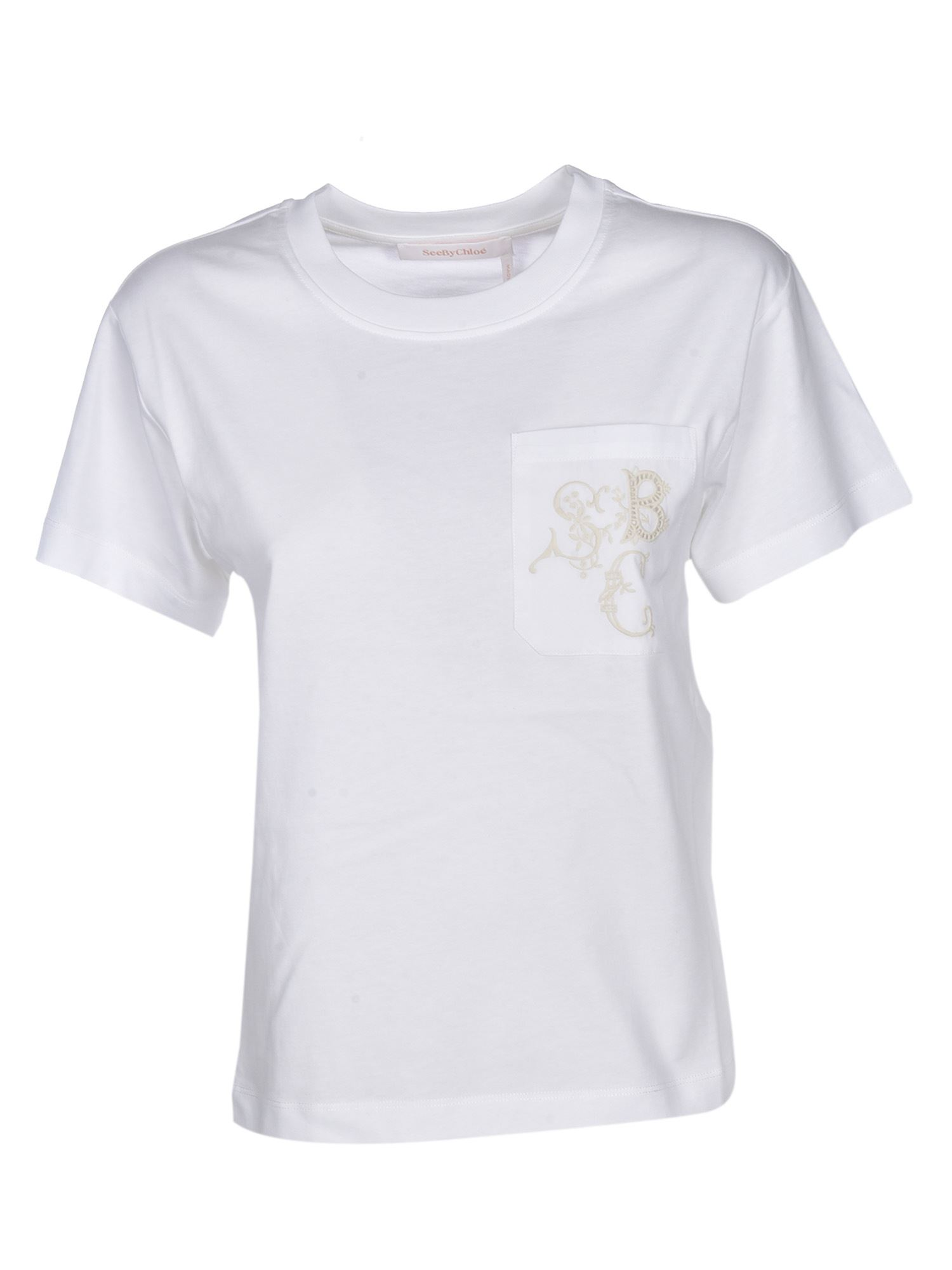 See By Chloé EMBROIDERED LOGO POCKET T-SHIRT IN WHITE