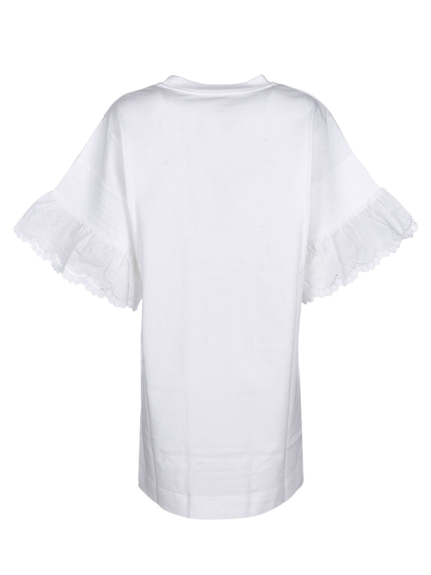 SEE BY CHLOÉ Cottons BUTTERFLY T-SHIRT DRESS IN WHITE