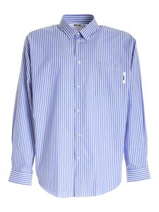MSGM - Logo print shirt in white and blue