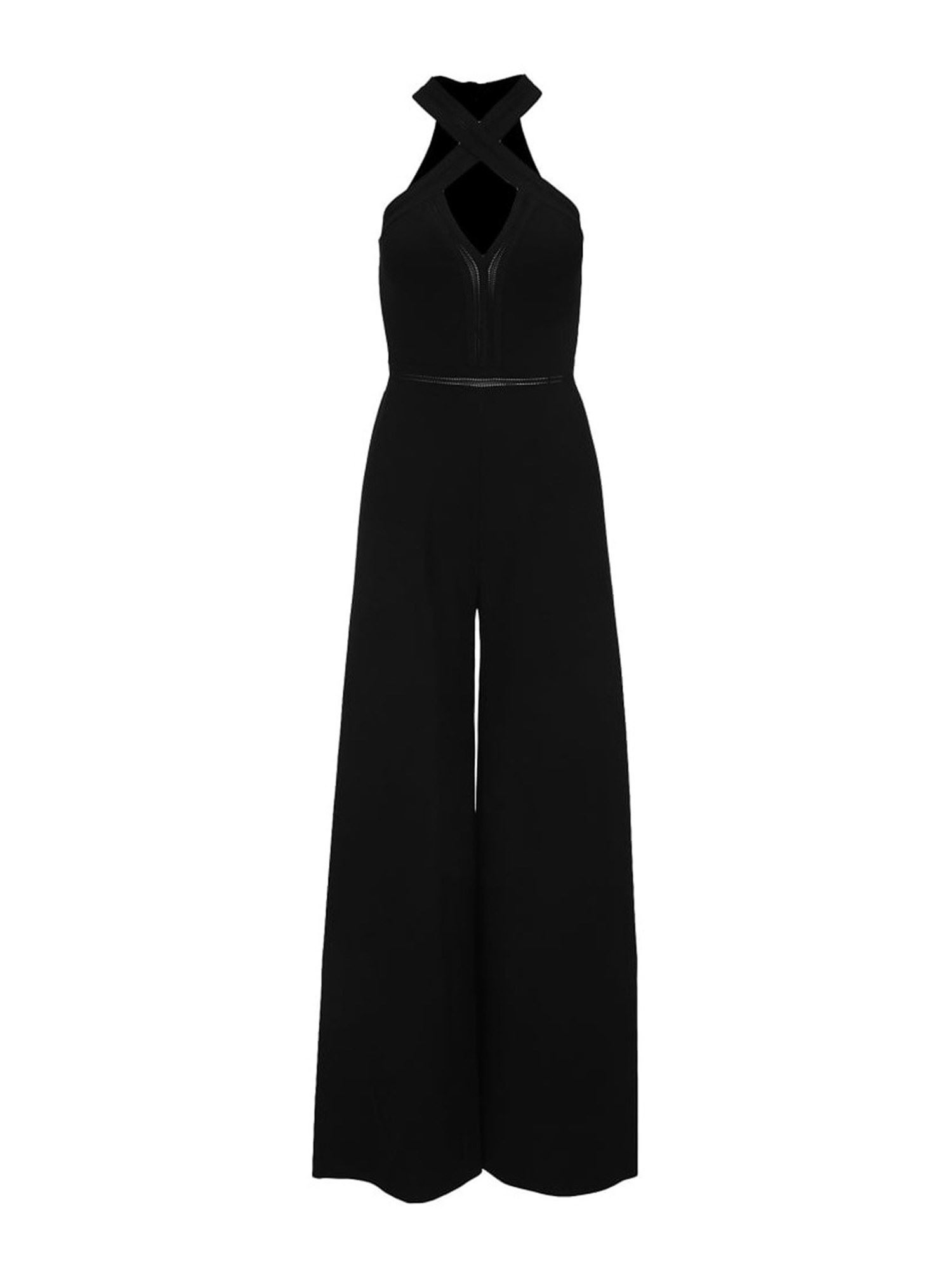 Stella Mccartney STELLA MCCARTNEY CROSSED BANDS DETAILED JUMPSUIT IN BLACK