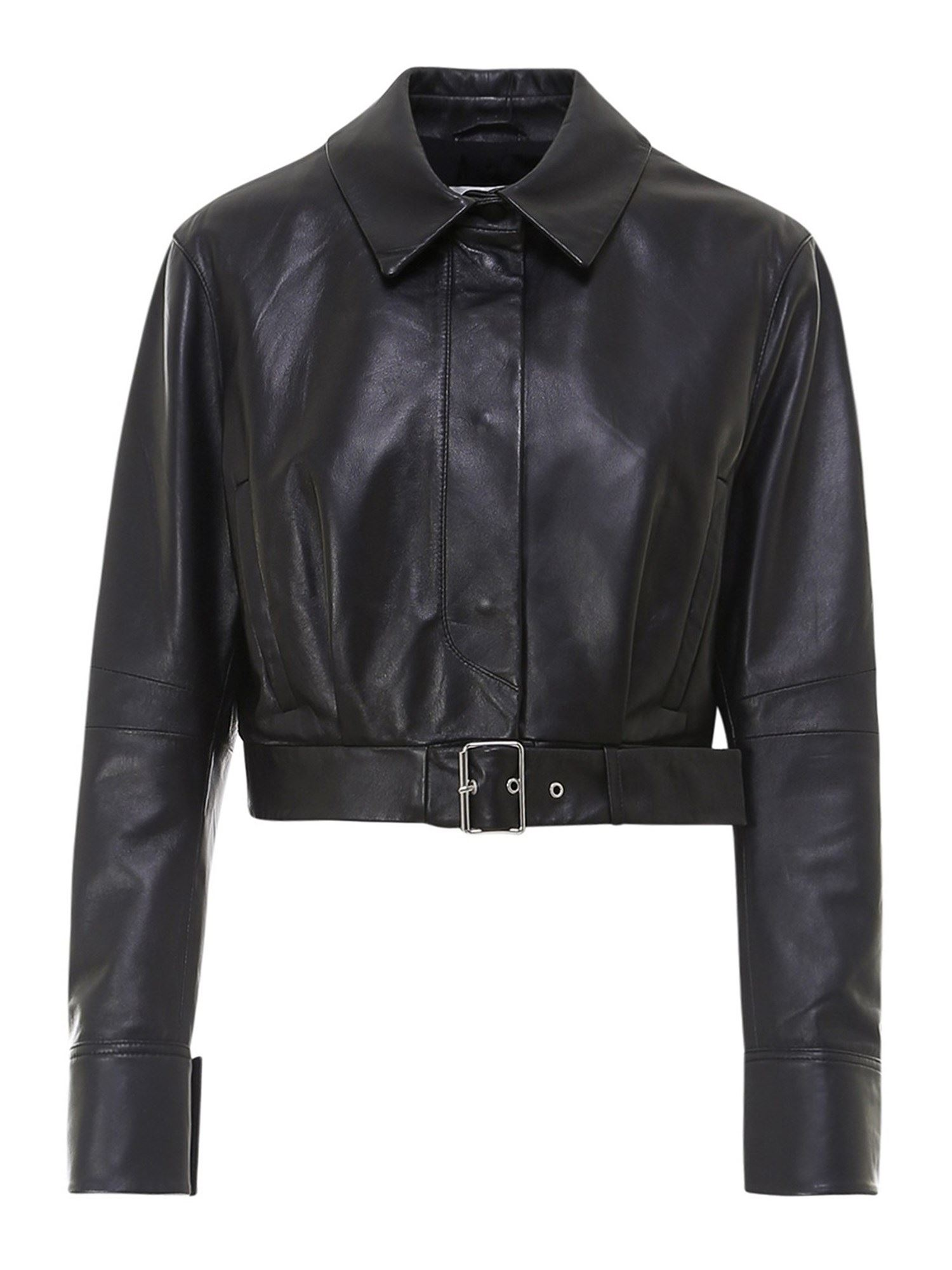 Sportmax BARI CROPPED LEATHER JACKET IN BLACK