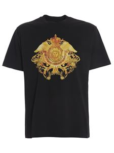 Versace Jeans Couture - T-shirt in cotone stampa Barocca nera