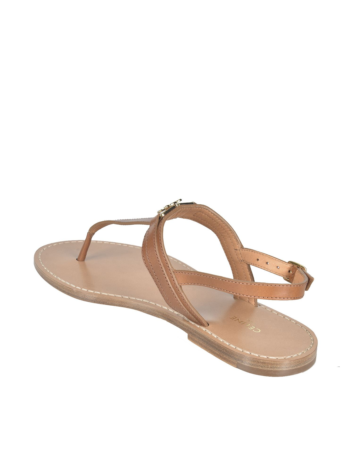 CELINE Leathers TRIOMPHE SANDALS IN TAN COLOR
