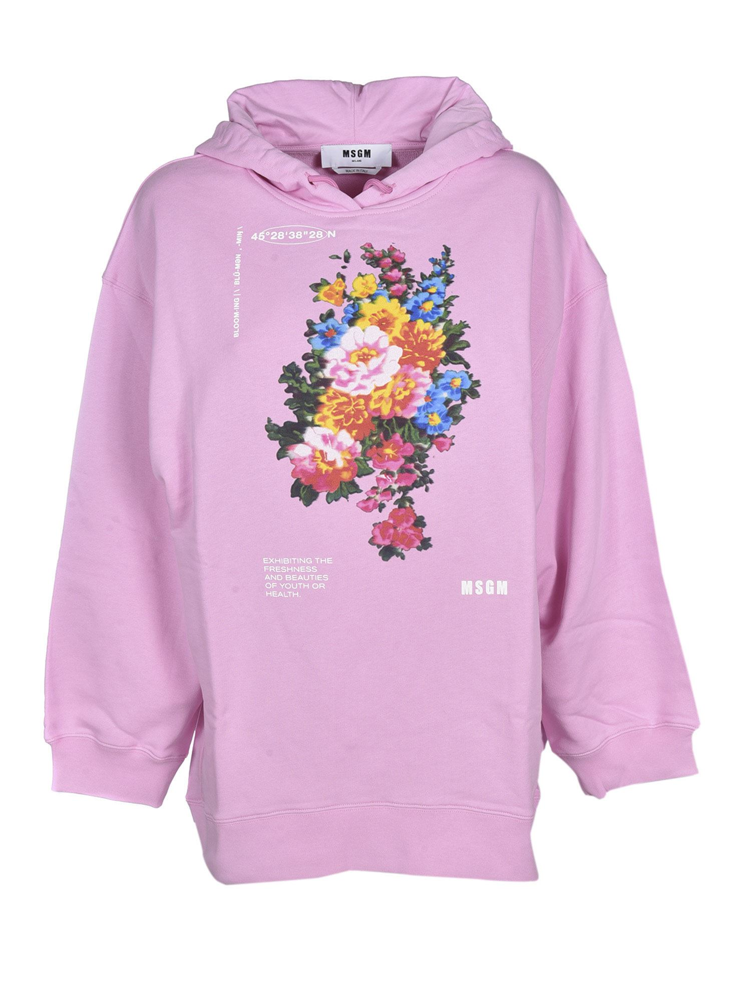 Msgm FLORAL PRINT AND LOGO SWEATSHIRT IN PINK