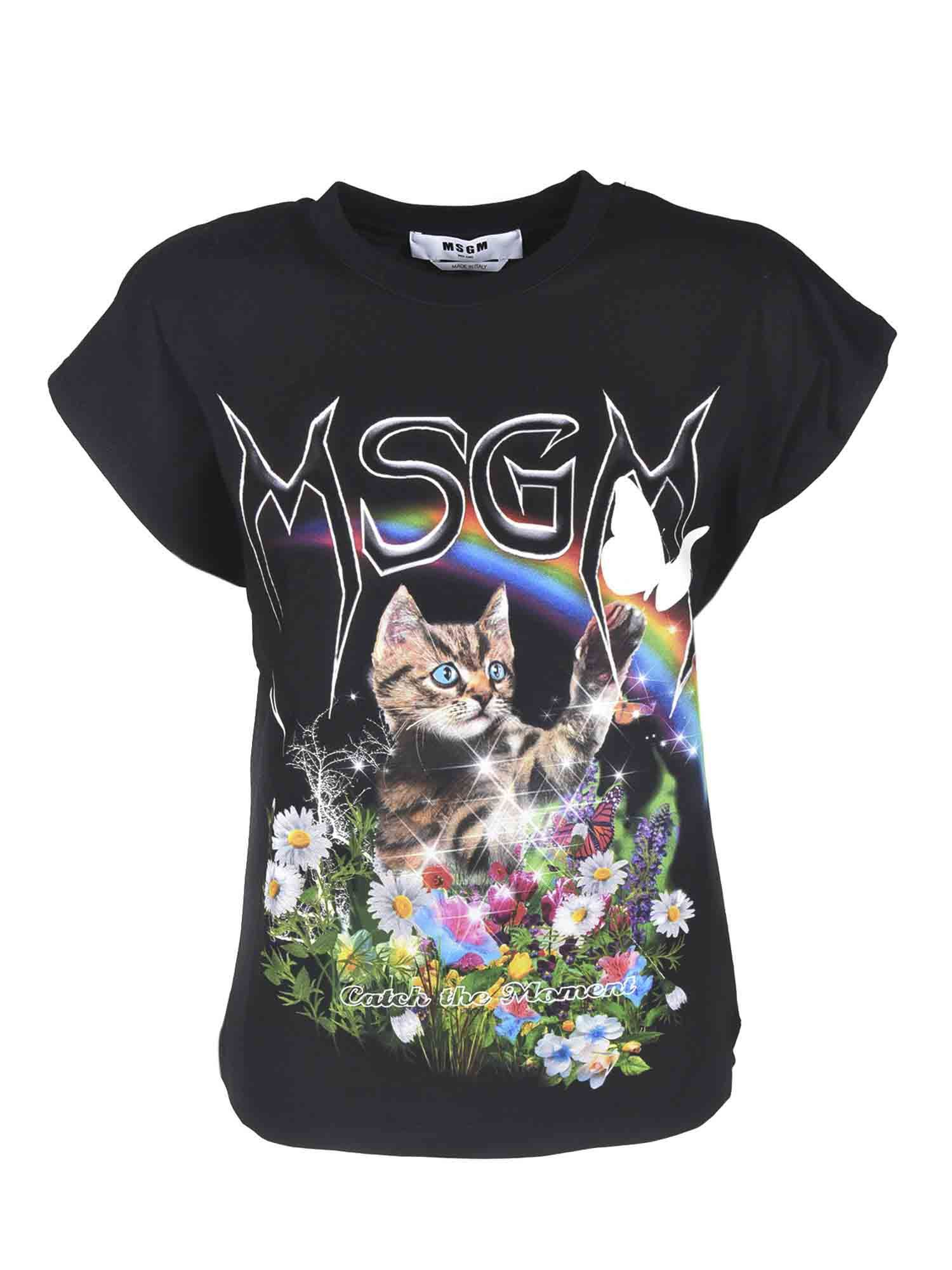 Msgm PRINTED T-SHIRT IN BLACK