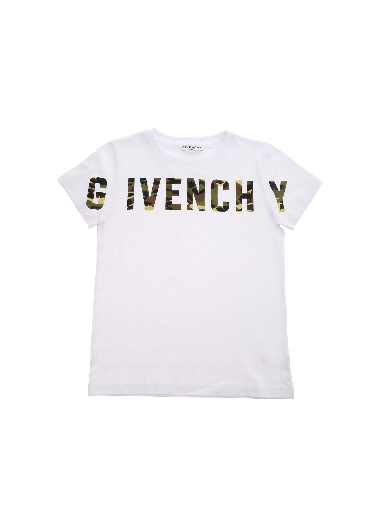 Givenchy CAMOUFLAGE LOGO PRINT T-SHIRT IN WHITE