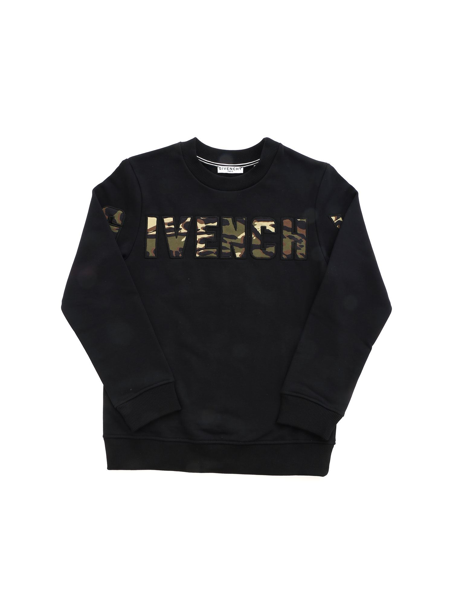 Givenchy Cottons CAMOUFLAGE DETAILS CREWNECK SWEATSHIRT IN BLACK