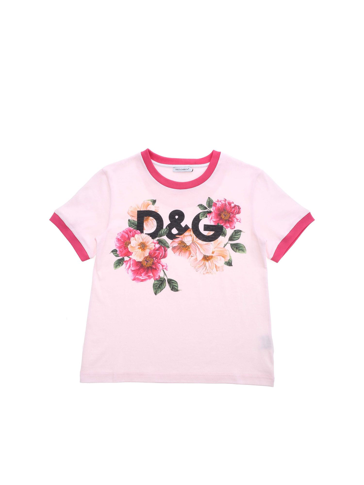 Dolce & Gabbana Jr Cottons FLORAL PRINT T-SHIRT IN PINK