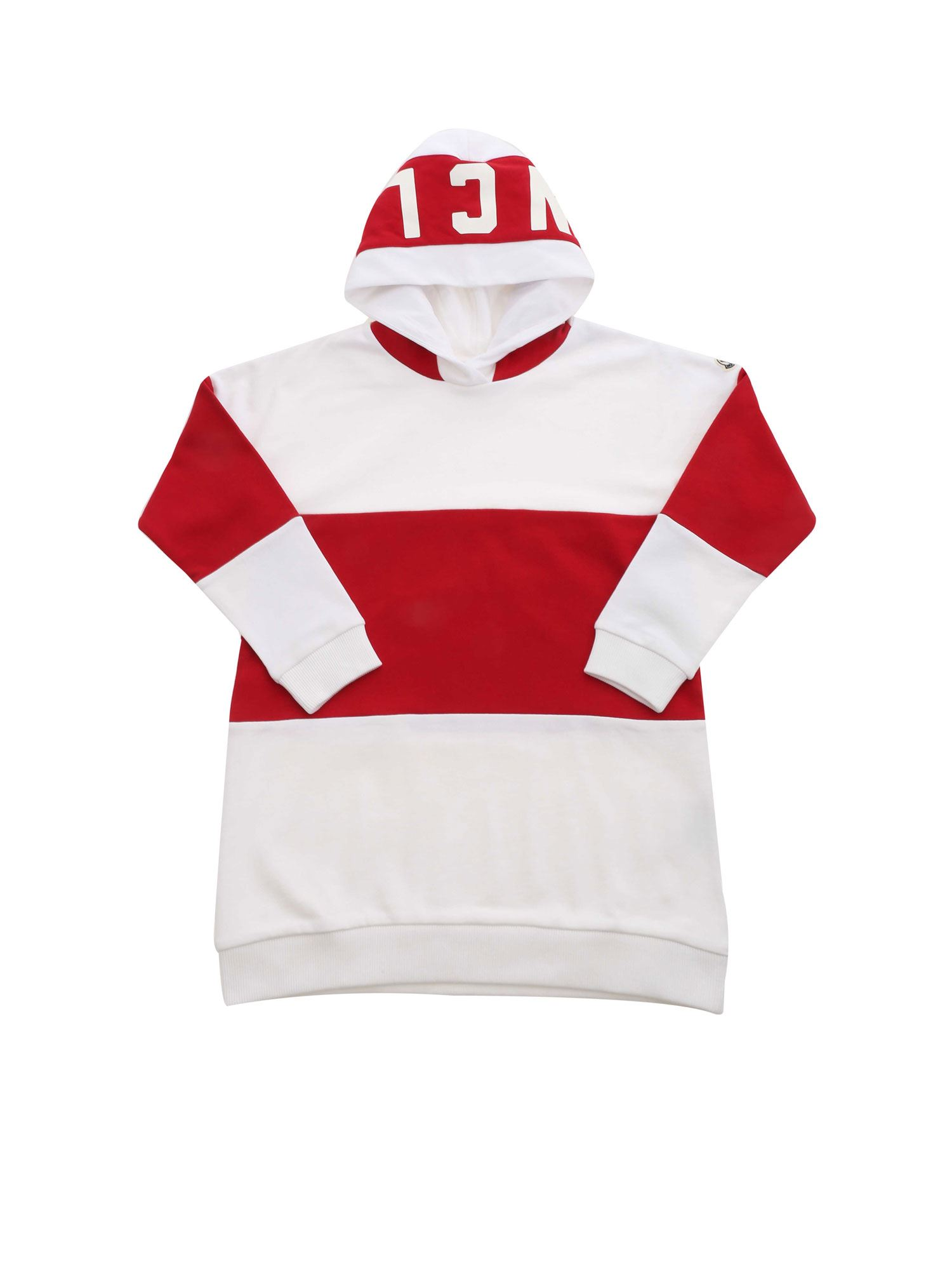 Moncler Jr MAXI STRIPED SWEATSHIRT IN WHITE AND RED