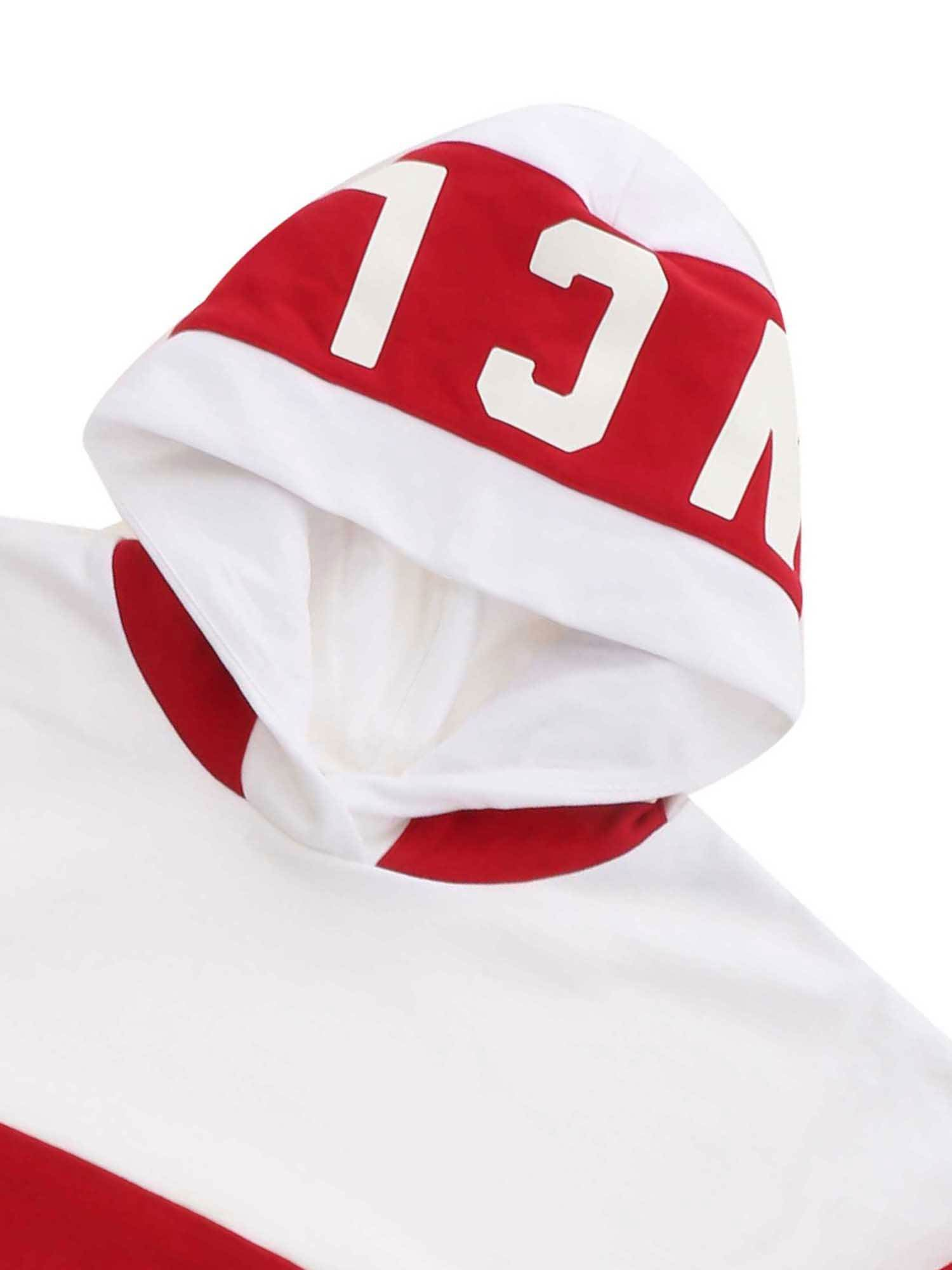 MONCLER JR Cottons MAXI STRIPED SWEATSHIRT IN WHITE AND RED