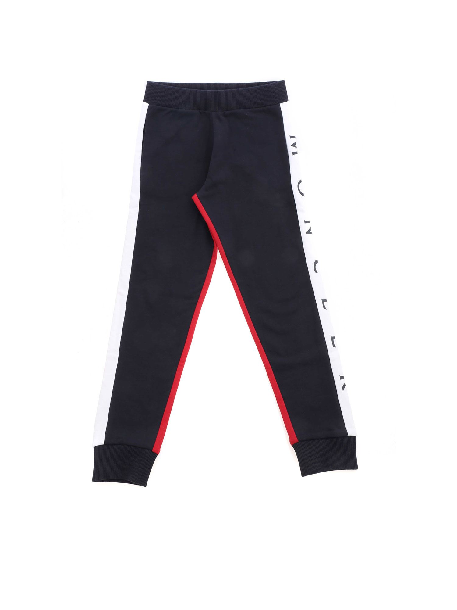 Moncler Jr LOGO PANTS IN RED AND BLUE