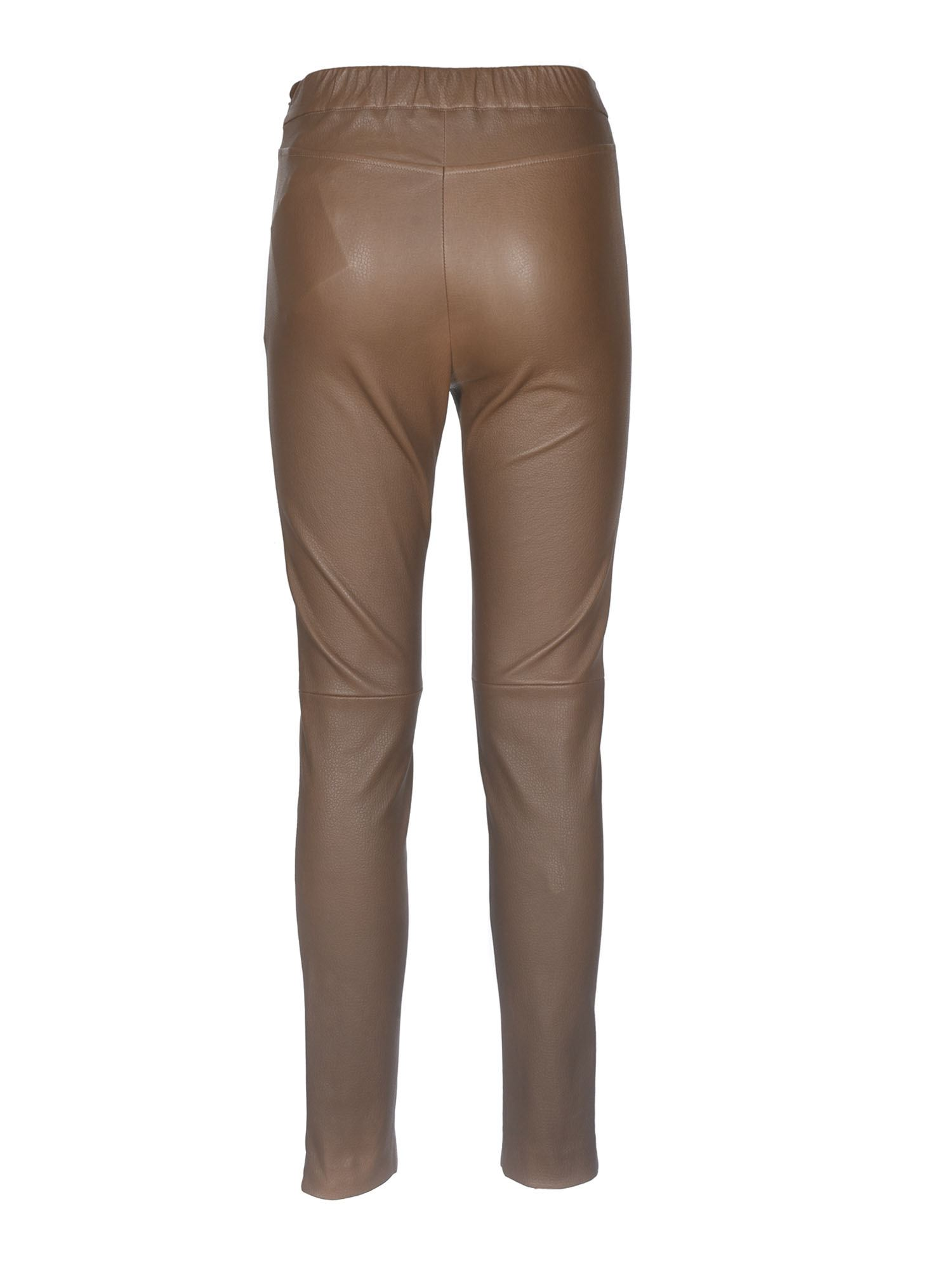 MAX MARA Leathers SONNI LEATHER TROUSERS IN BROWN