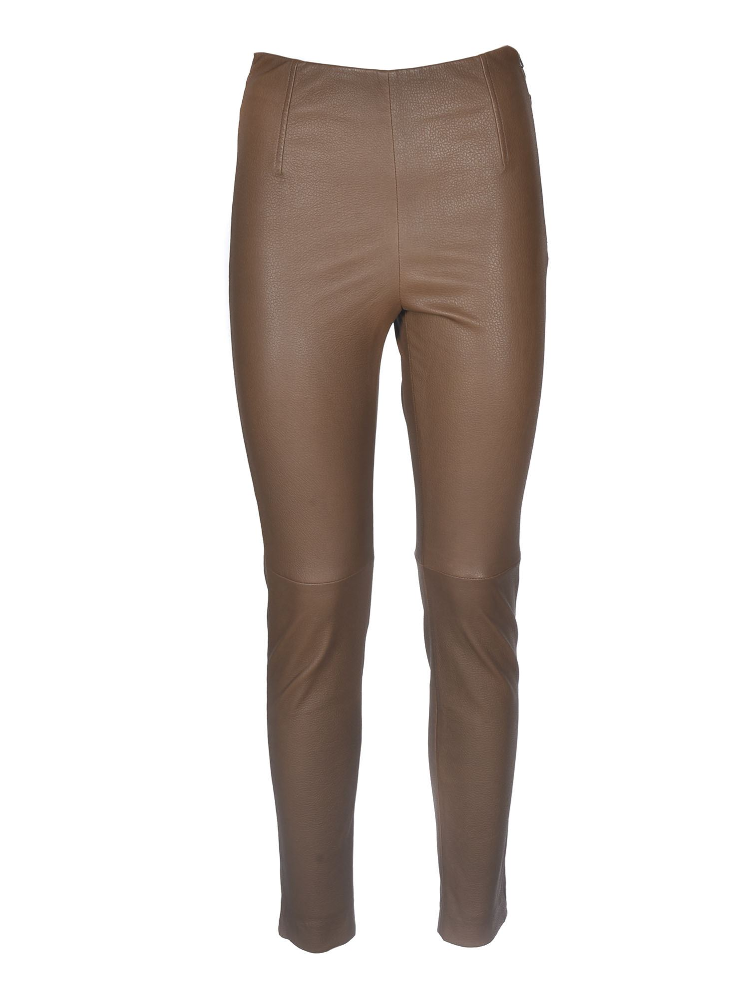 Max Mara SONNI LEATHER TROUSERS IN BROWN
