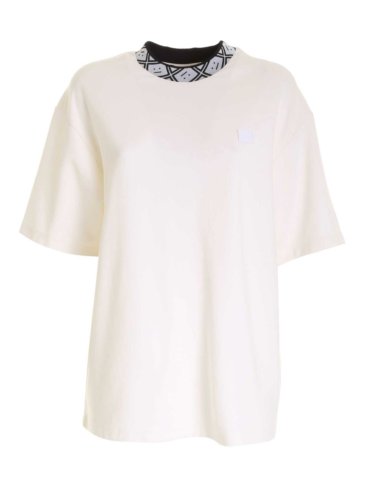 Acne Studios T-shirts BRANDED COLLAR T-SHIRT IN WHITE