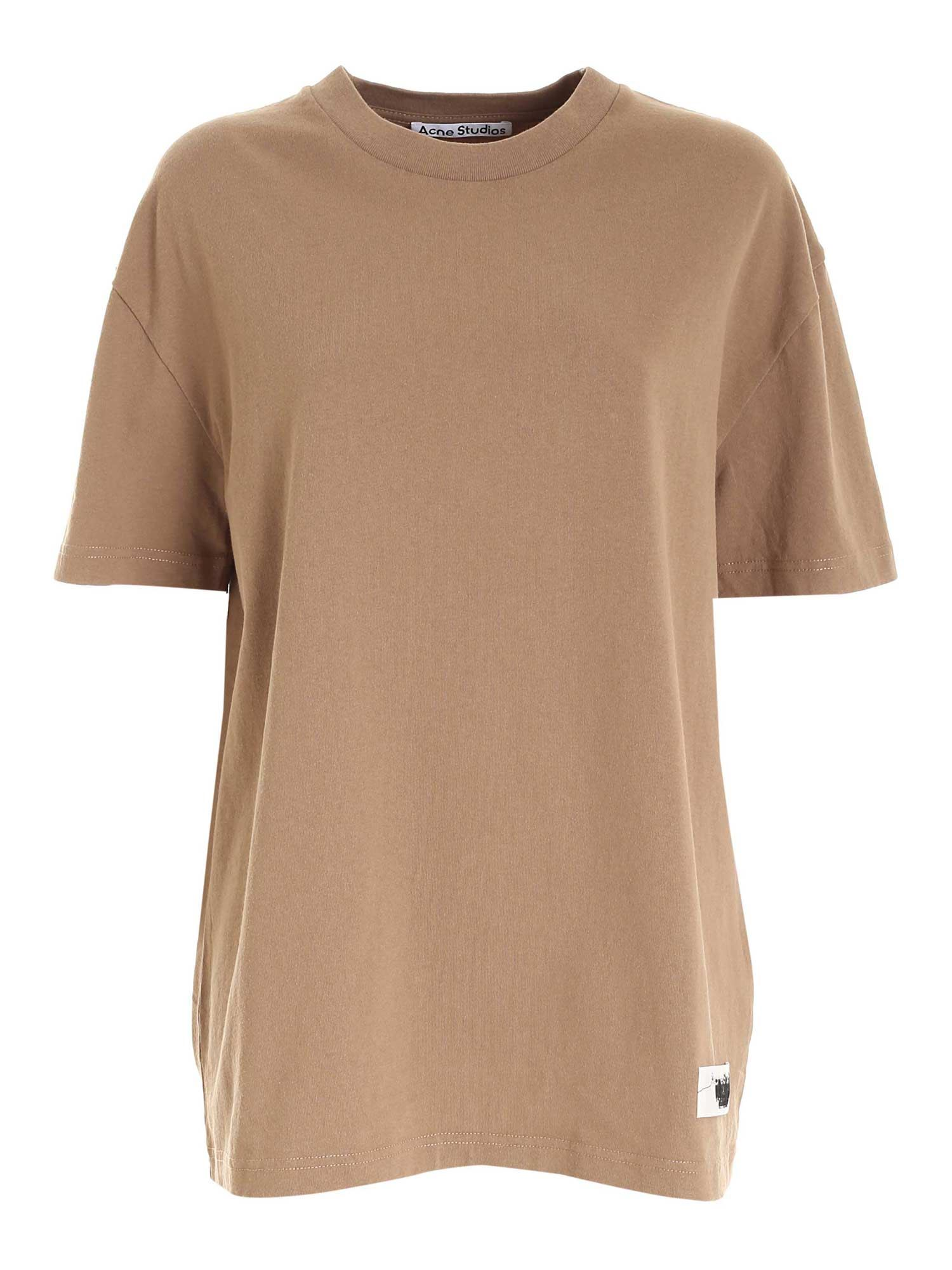 Acne Studios LOGO LABEL T-SHIRT IN BROWN