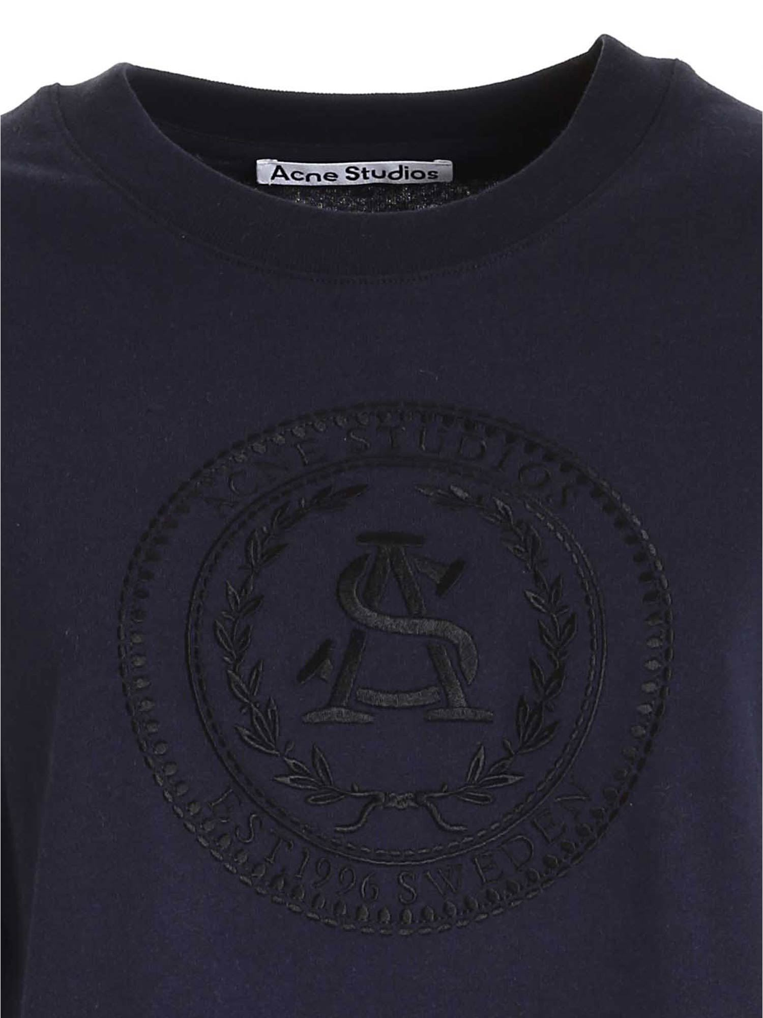 ACNE STUDIOS Cottons EMBROIDERY T-SHIRT IN BLUE