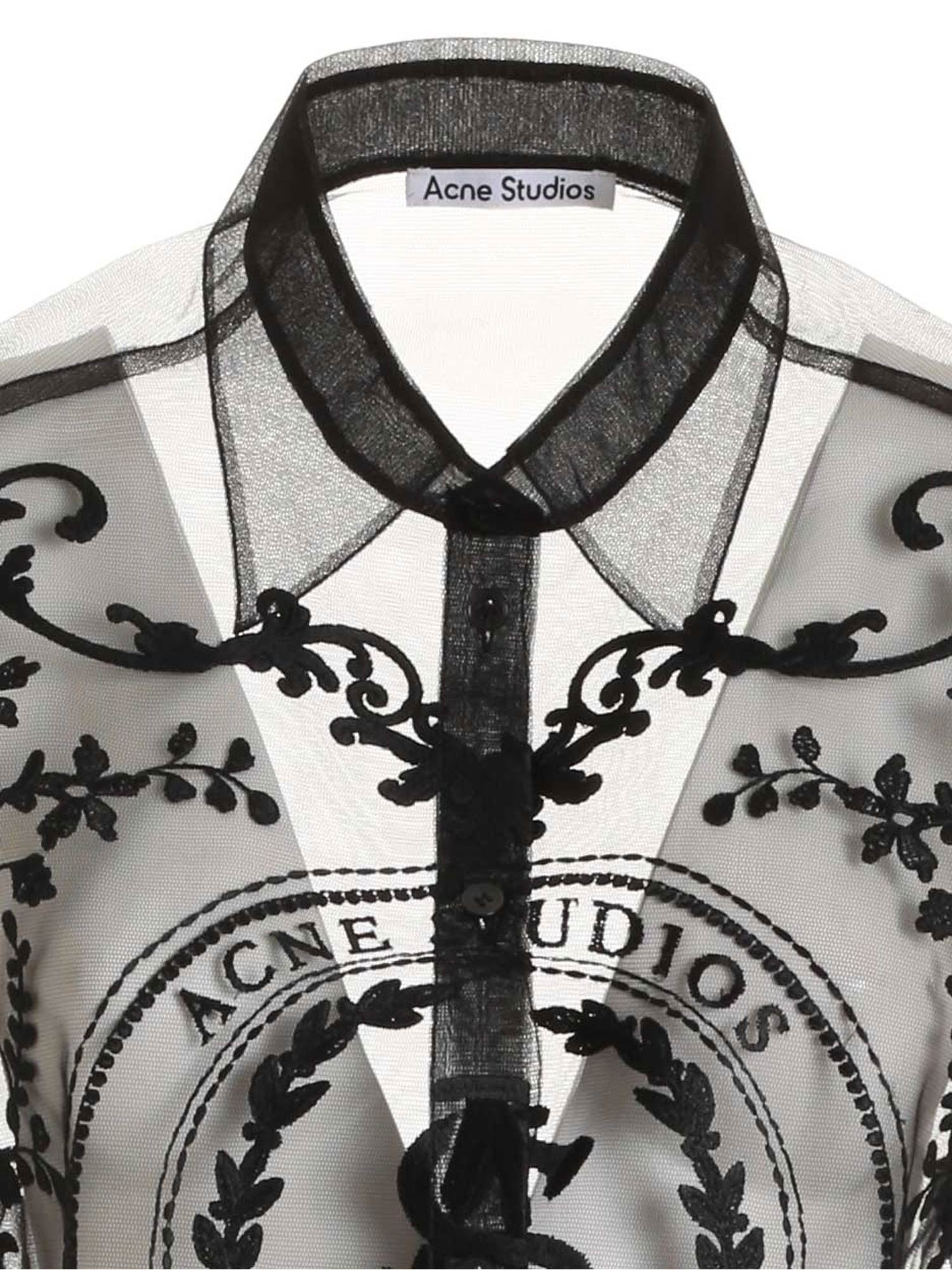ACNE STUDIOS Shirts EMBROIDERED TULLE SHIRT IN BLACK