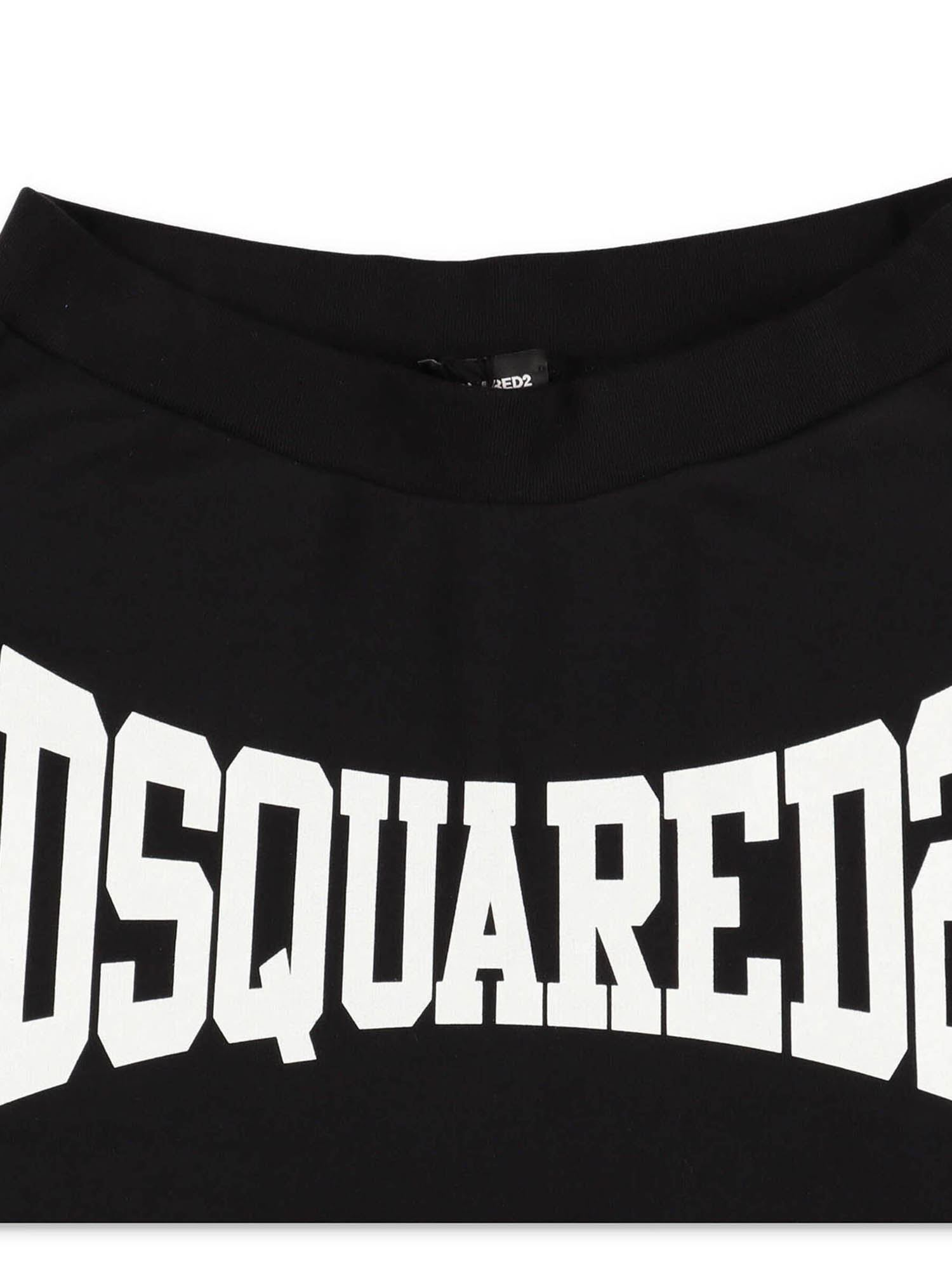 DSQUARED2 Cottons CONTRASTING PRINT BERMUDA SHORTS IN BLACK