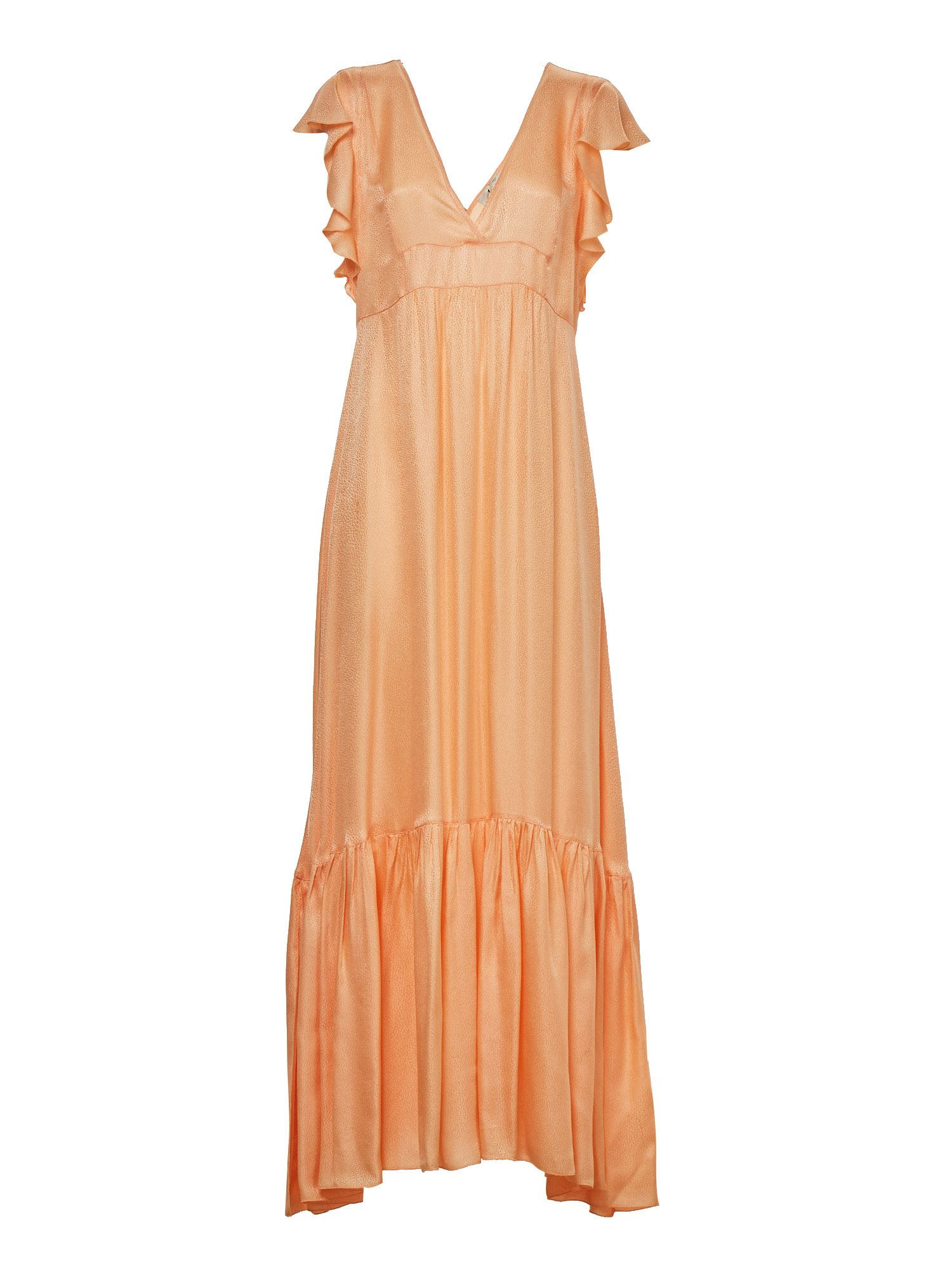 Forte Forte LONG JACQUARD FLOUNCES DRESS IN PEACH COLOR