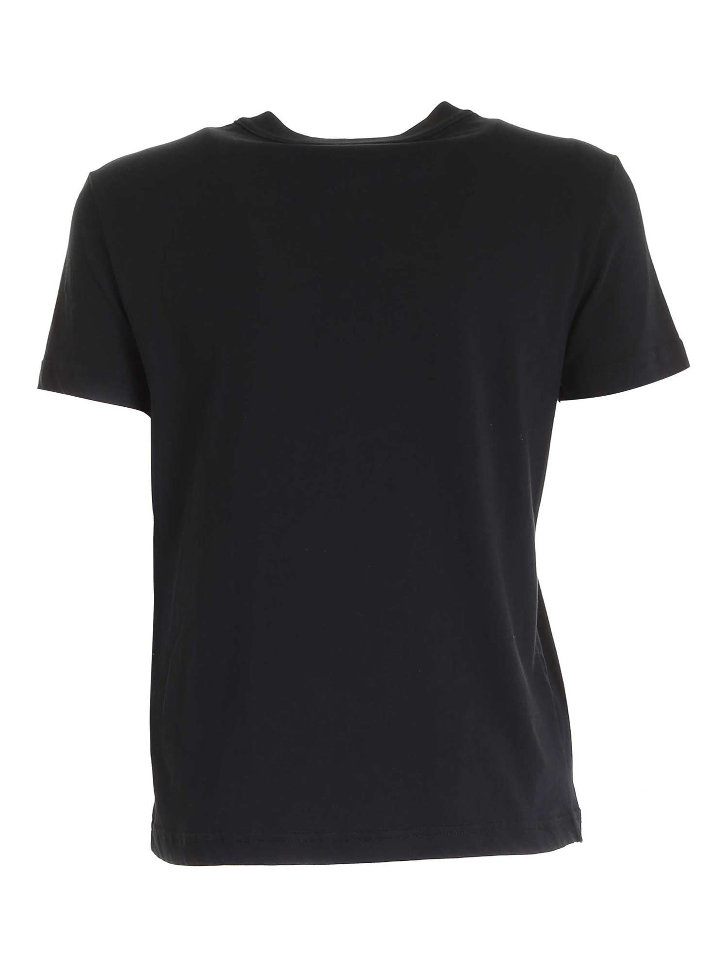 VERSACE JEANS COUTURE Cottons RHINESTONES T-SHIRT IN BLACK