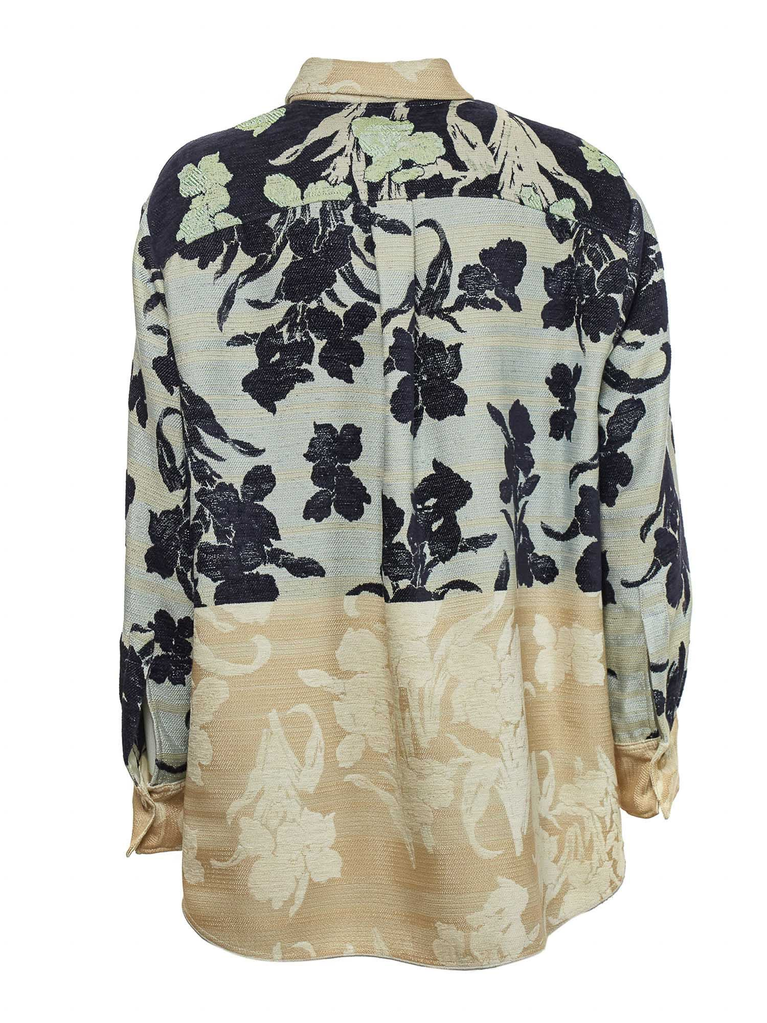 FORTE FORTE Cottons BLOOM JACQUARD OVERSIZED SHIRT IN MINT COLOR
