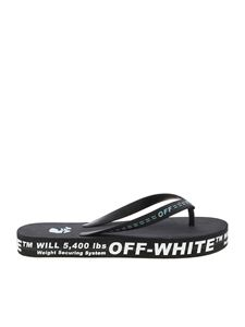 Off-White - Contrasting details slippers in black