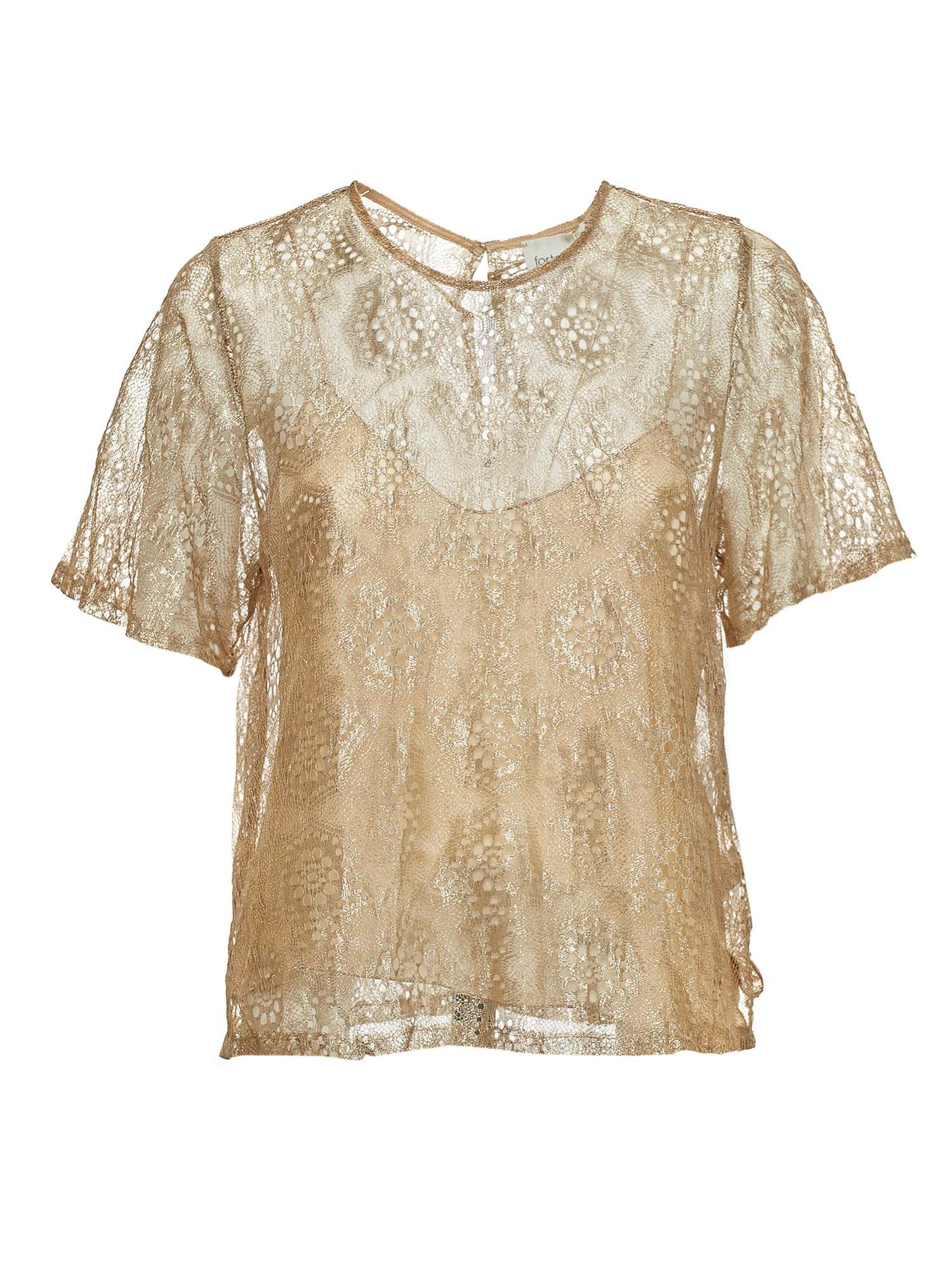 Forte Forte CHANTILLY LACE LUREX T-SHIRT IN GOLD COLOR