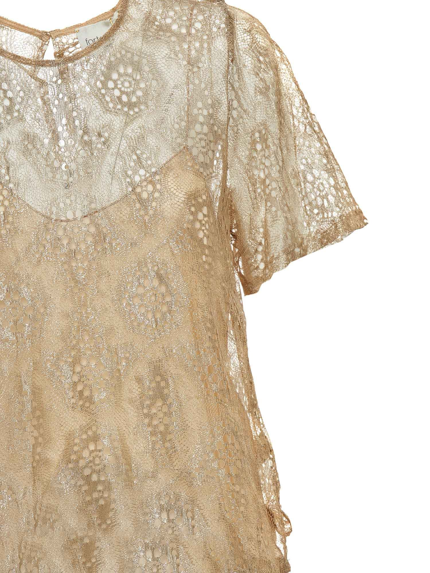 FORTE FORTE T-shirts CHANTILLY LACE LUREX T-SHIRT IN GOLD COLOR