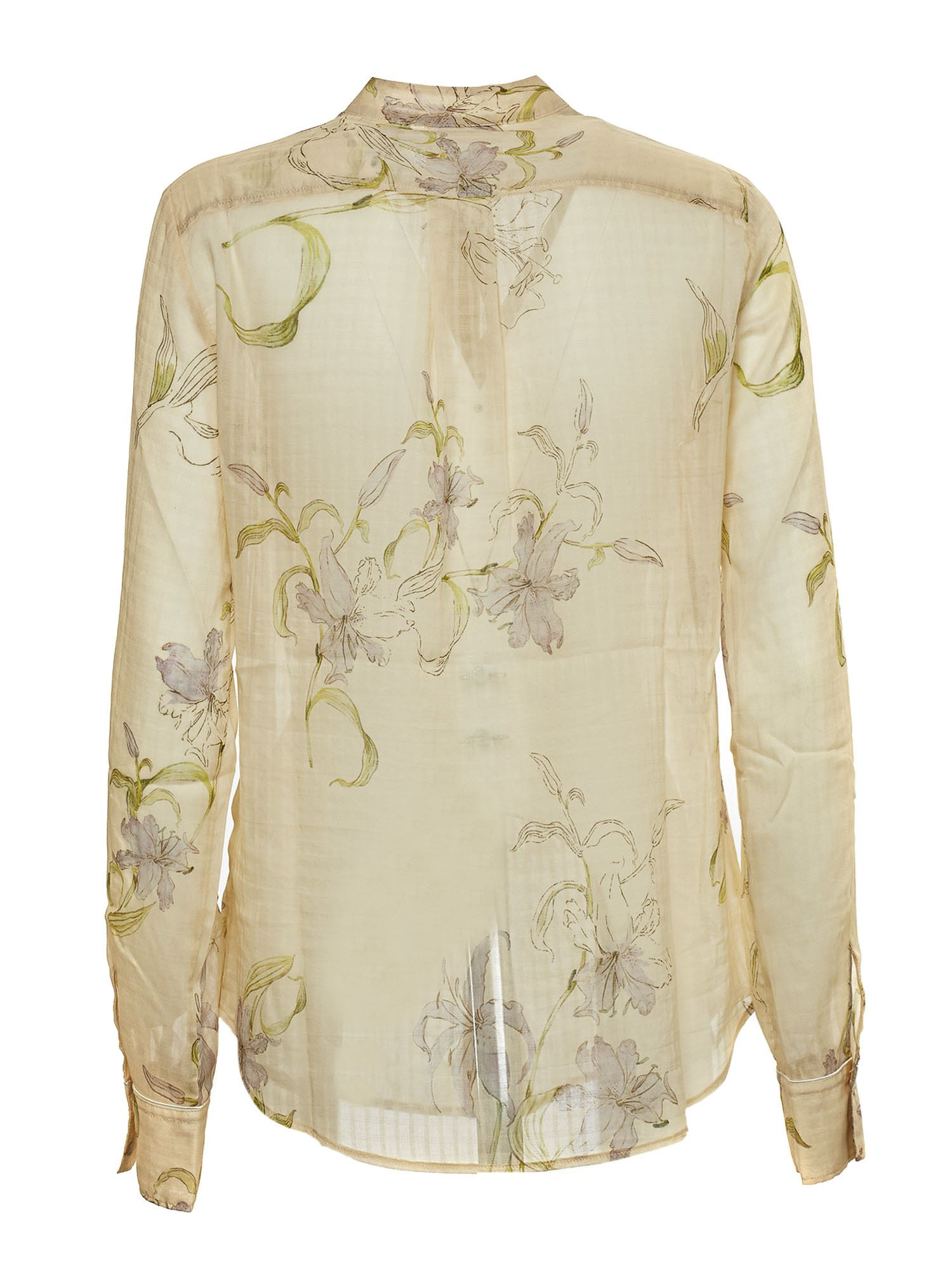 FORTE FORTE Silks FLORAL SHIRT IN PEACH COLOR