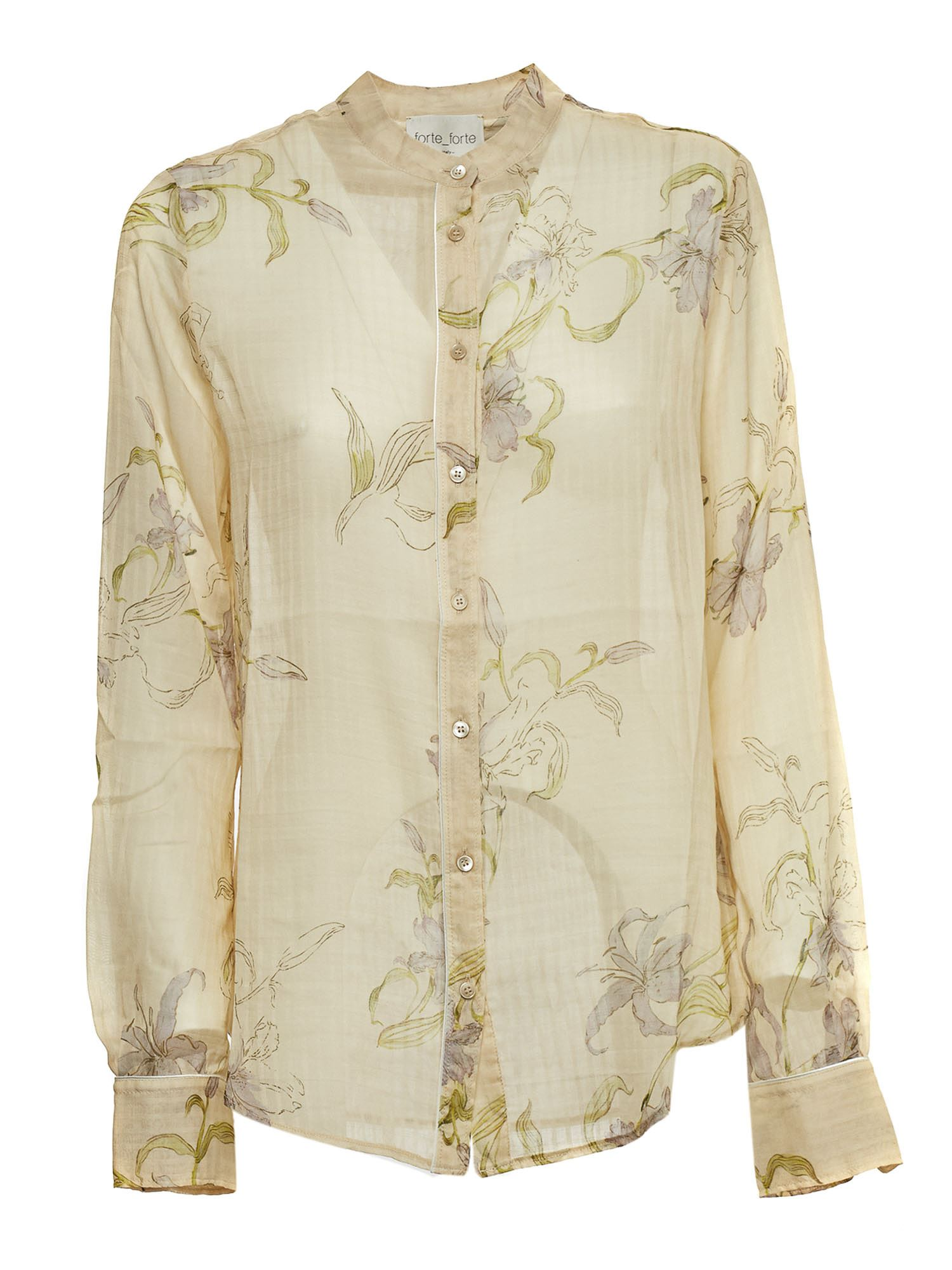 Forte Forte FLORAL SHIRT IN PEACH COLOR