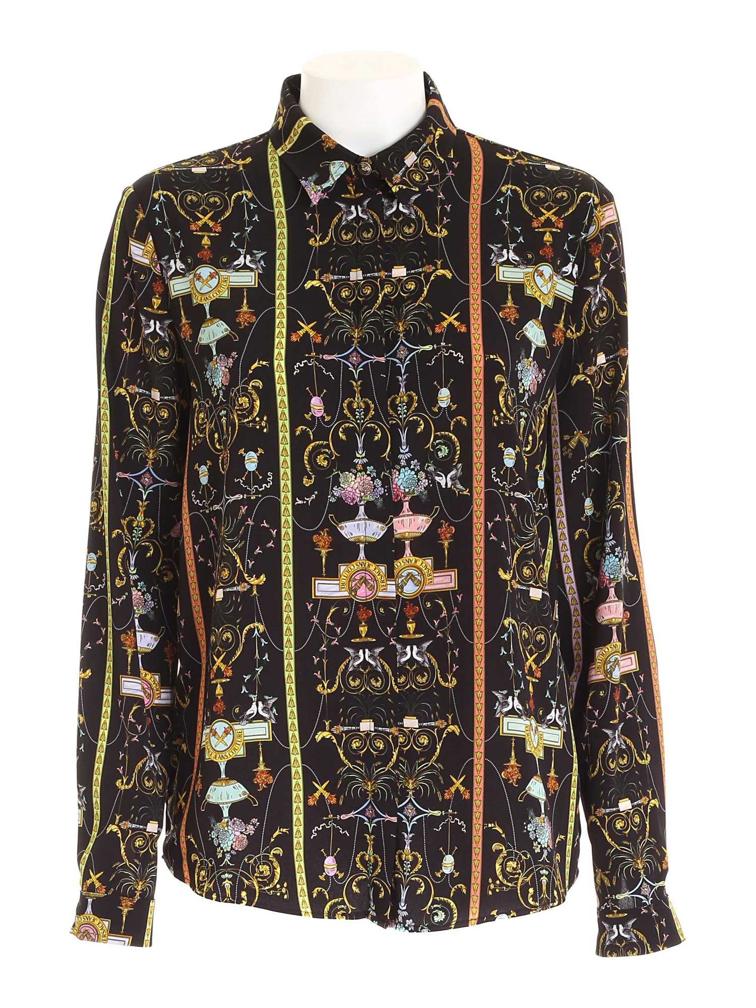 Versace Jeans Couture T-shirts MULTICOLOR PRINT SHIRT IN BLACK
