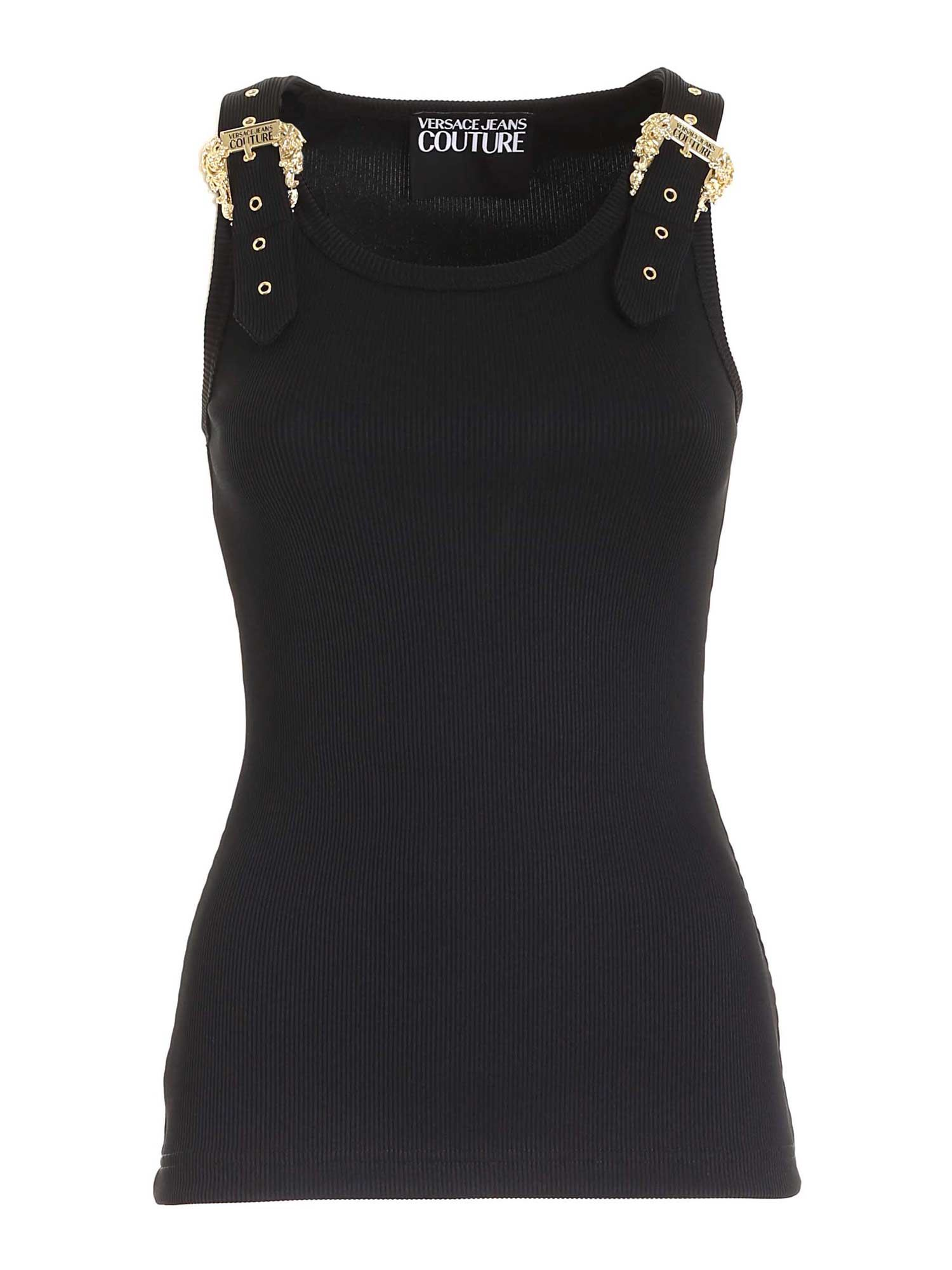 Versace Jeans Couture Tops BUCKLE TOP IN BLACK