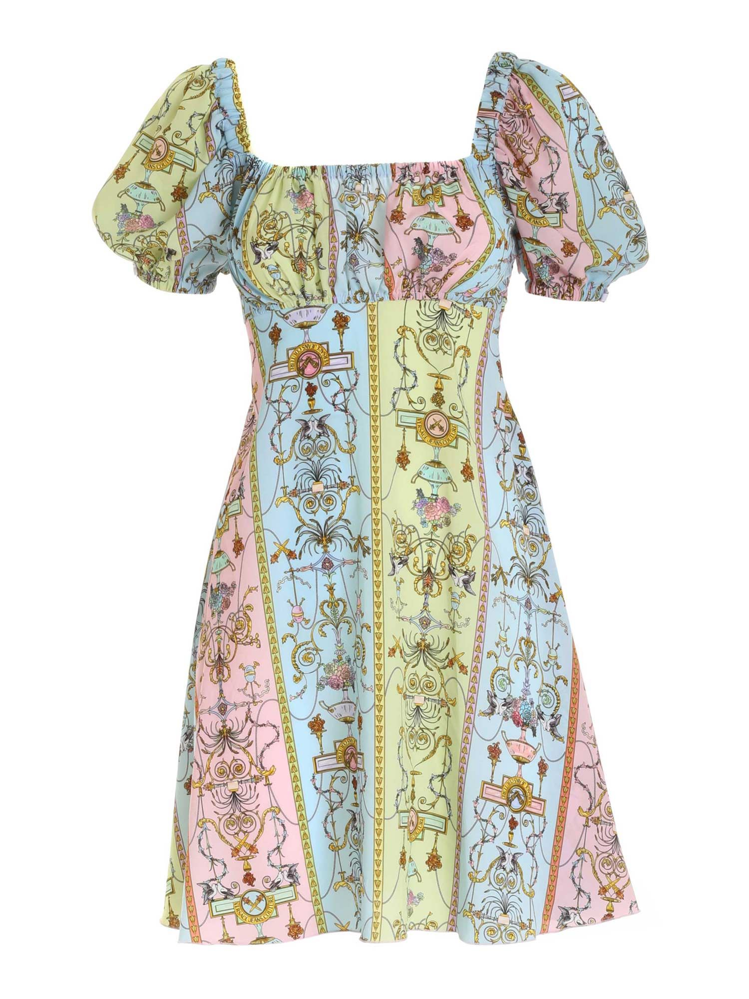 Versace Jeans Couture TUILERIES PRINT DRESS IN LIGHT BLUE