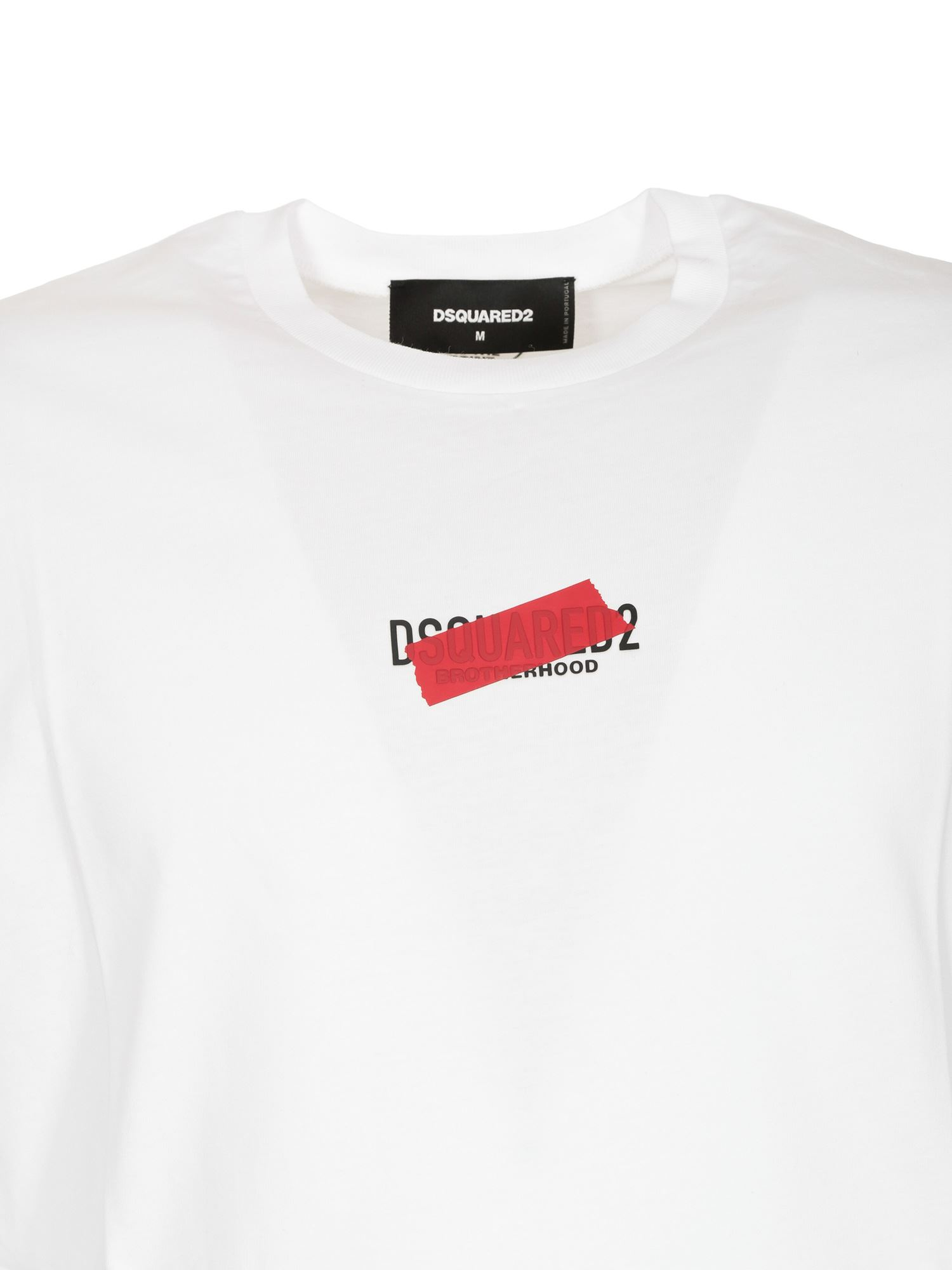 DSQUARED2 Cottons TAPED2 T-SHIRT IN WHITE