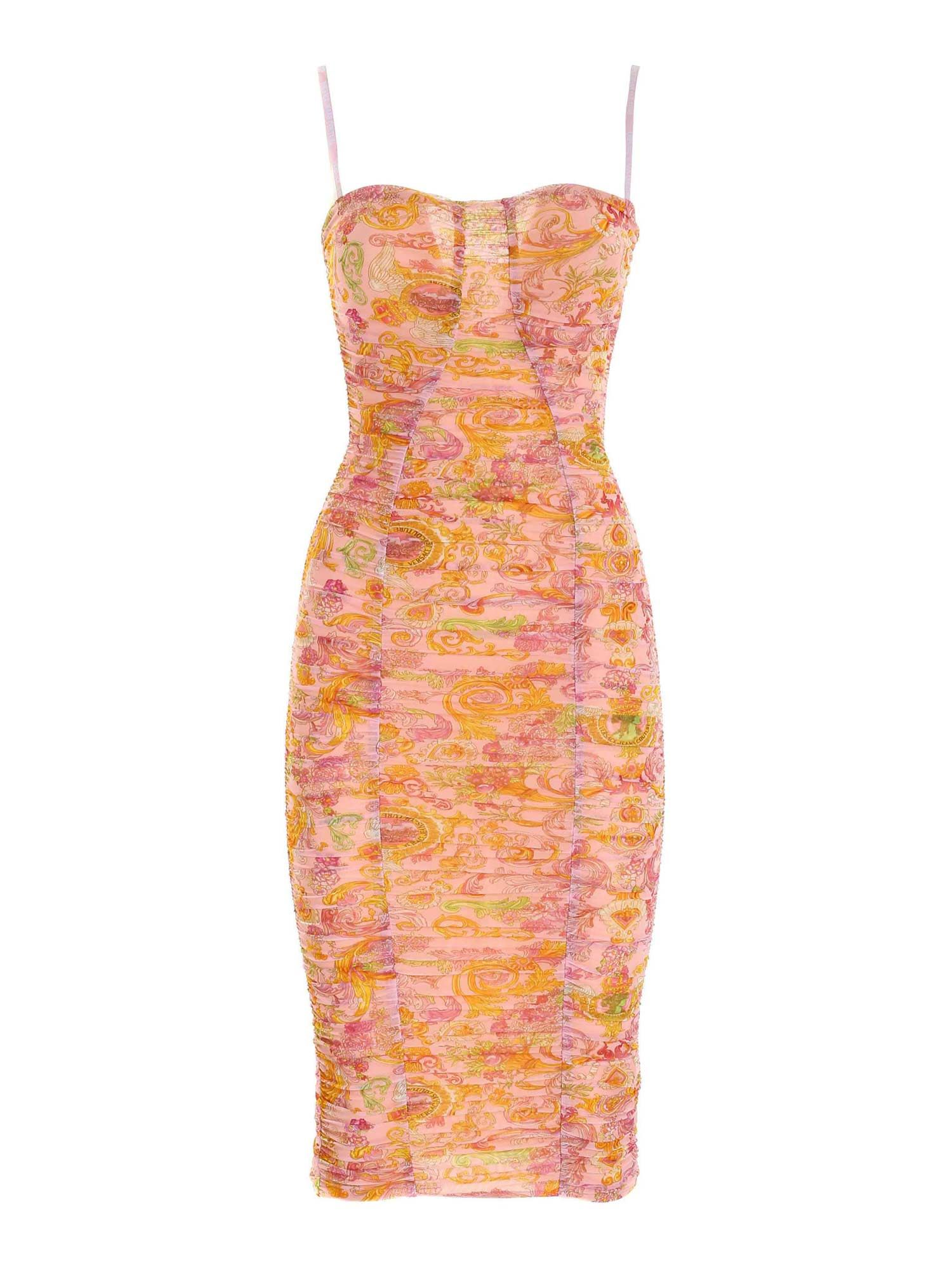 Versace Jeans Couture VERSAILLES PRINT SLIM FIT DRESS IN PINK