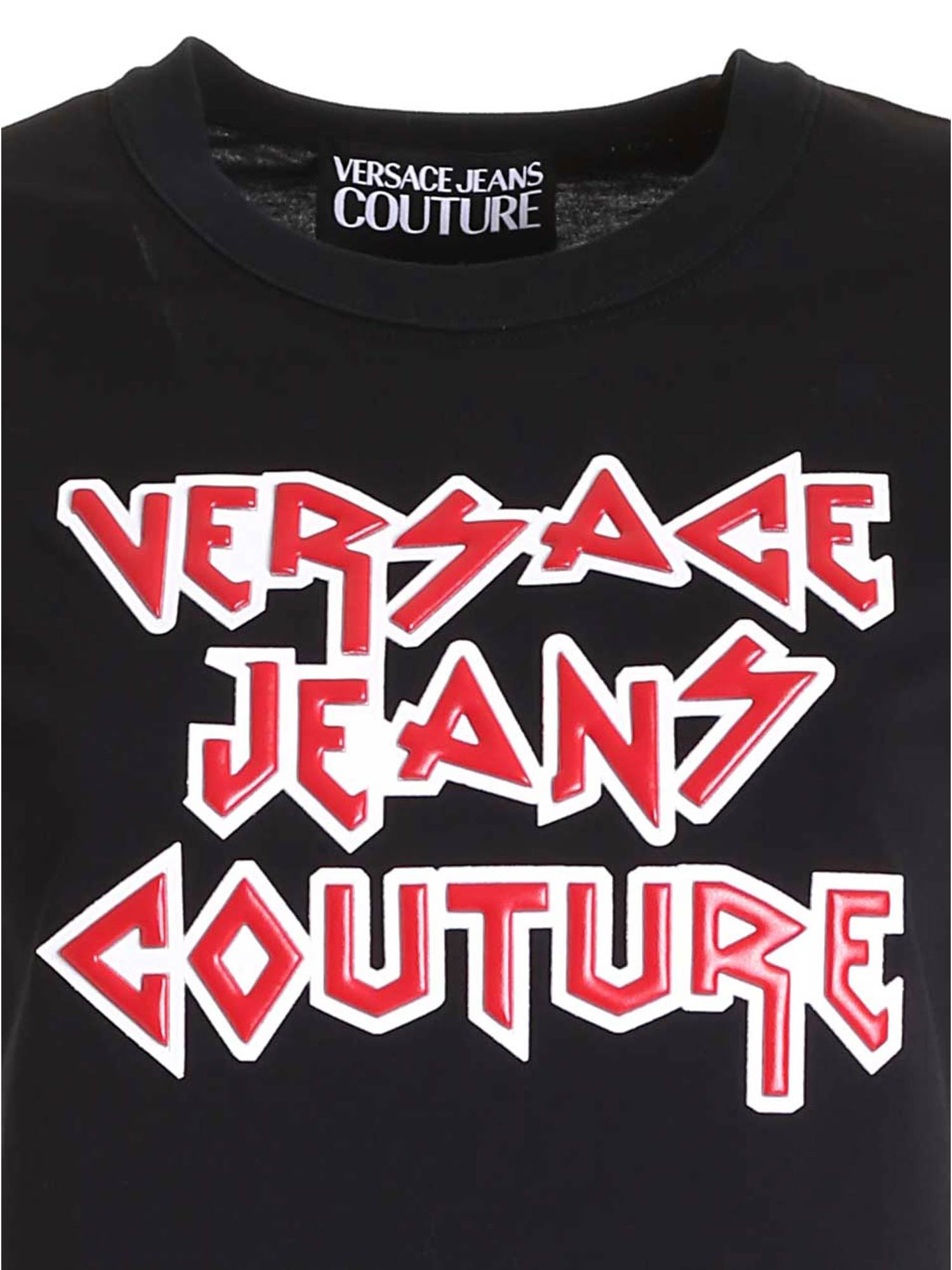 VERSACE JEANS COUTURE Cottons ROCK LOGO DRESS IN BLACK