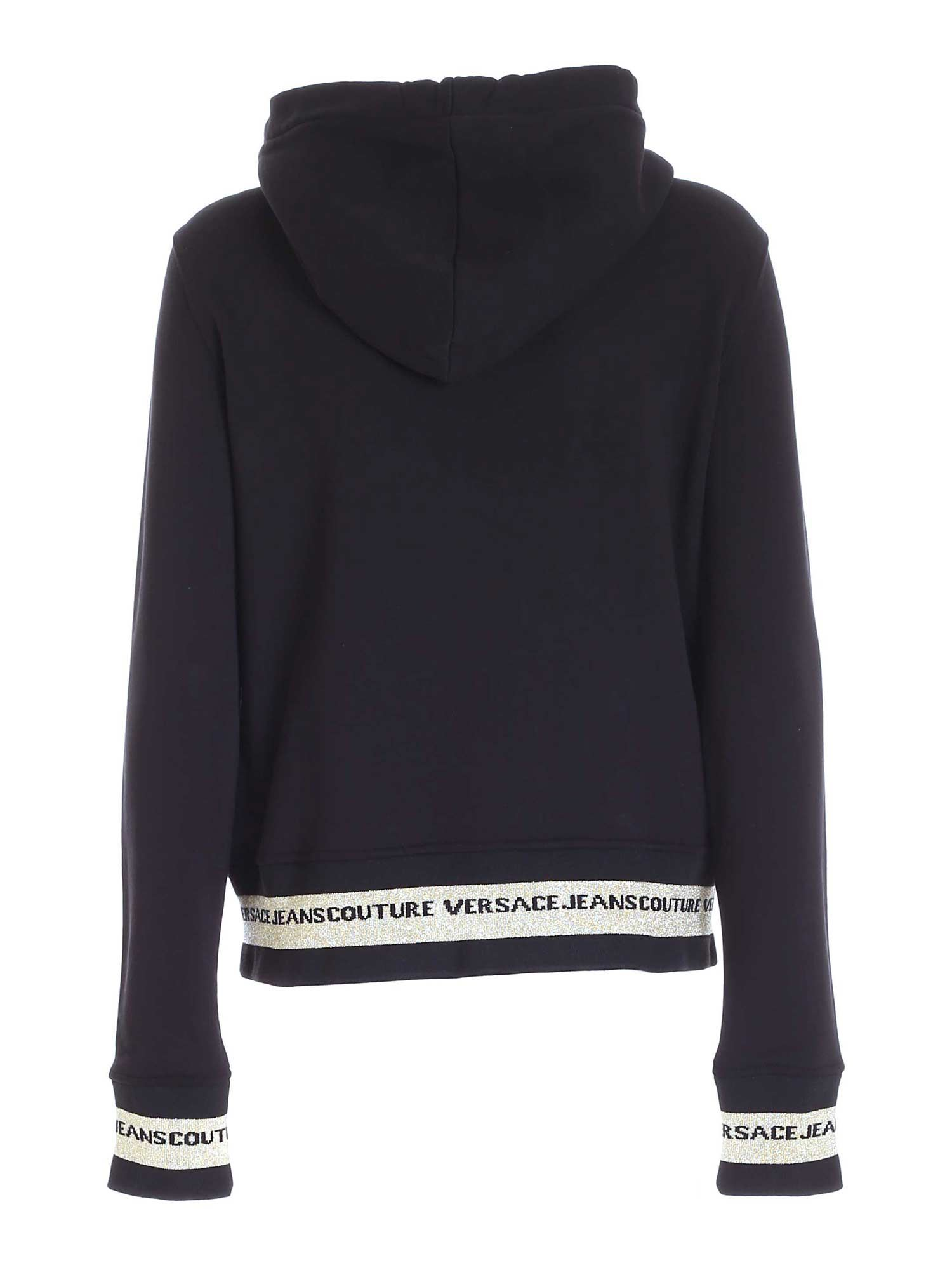 VERSACE JEANS COUTURE Cottons RUBBERIZED LOGO SWEATSHIRT IN BLACK