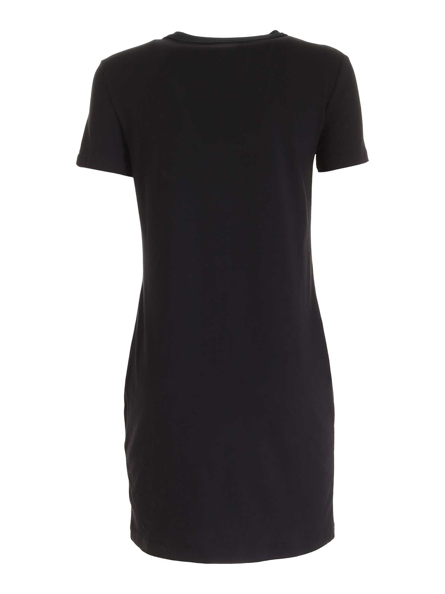 VERSACE JEANS COUTURE Cottons ROCOCO PATTERN DRESS IN BLACK