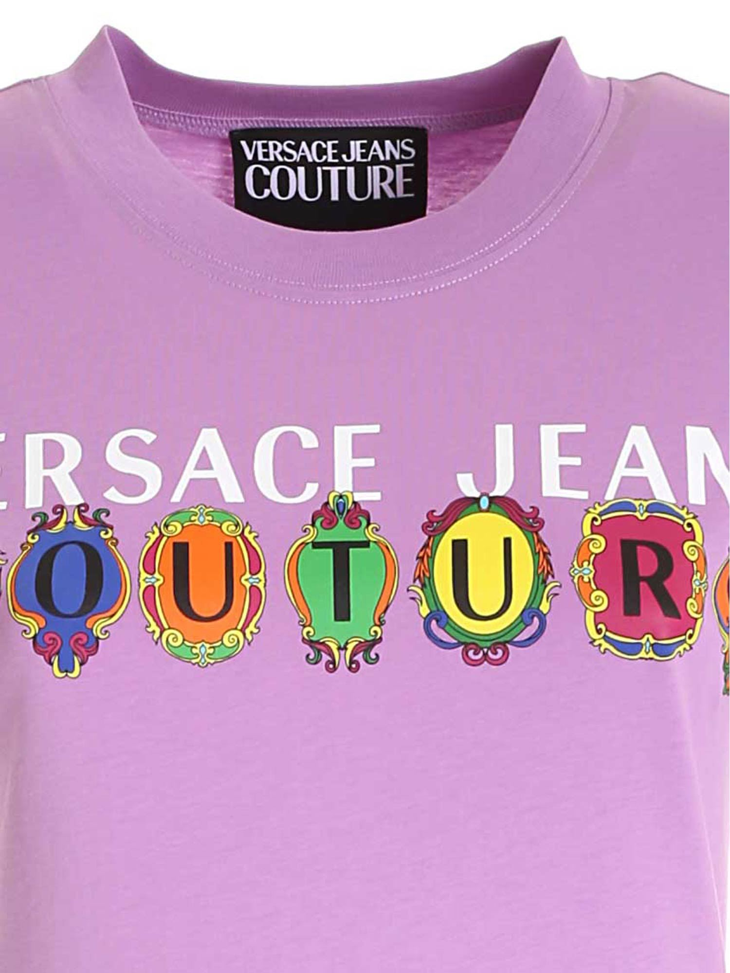 VERSACE JEANS COUTURE Cottons LOGO PRINT T-SHIRT IN PURPLE