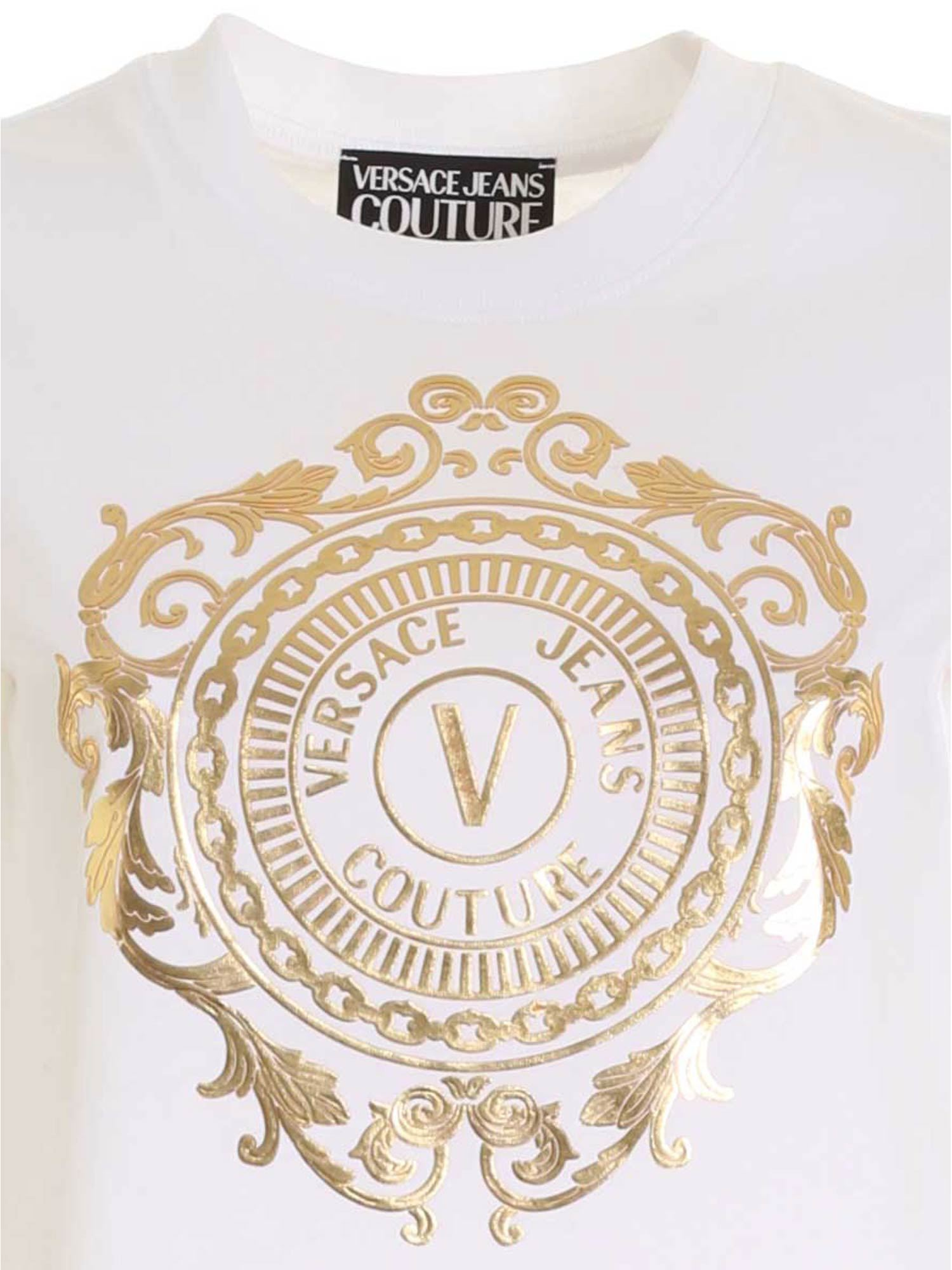 VERSACE JEANS COUTURE Cottons LOGO T-SHIRT IN WHITE