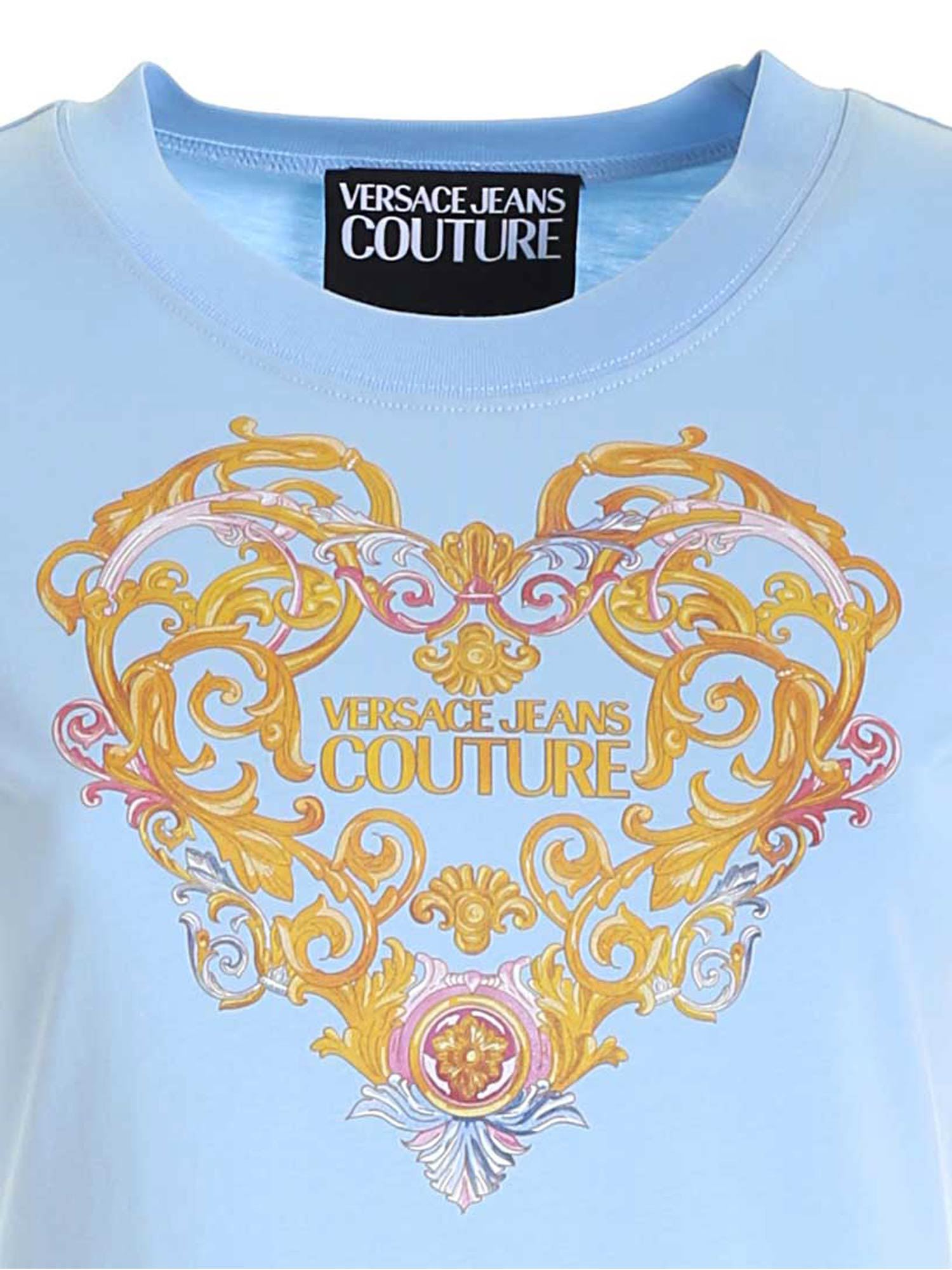 VERSACE JEANS COUTURE Cottons PRINT T-SHIRT IN LIGHT BLUE