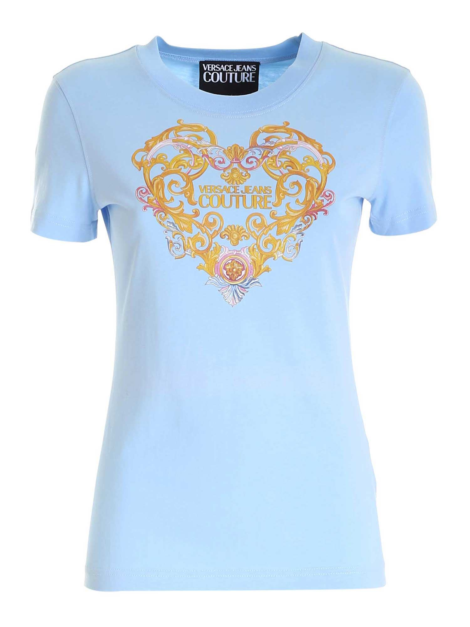 Versace Jeans Couture PRINT T-SHIRT IN LIGHT BLUE