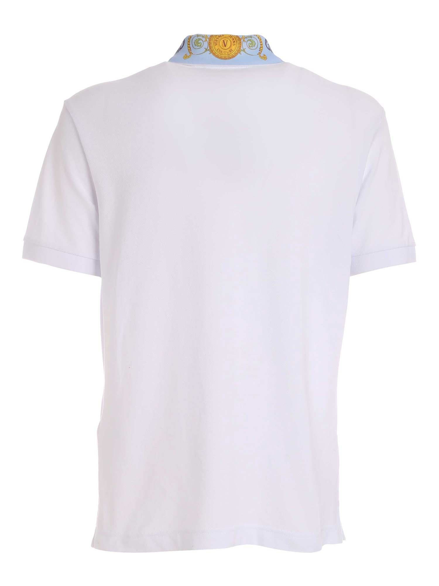 VERSACE JEANS COUTURE Cottons LOGO PRINT DETAILS POLO SHIRT IN WHITE