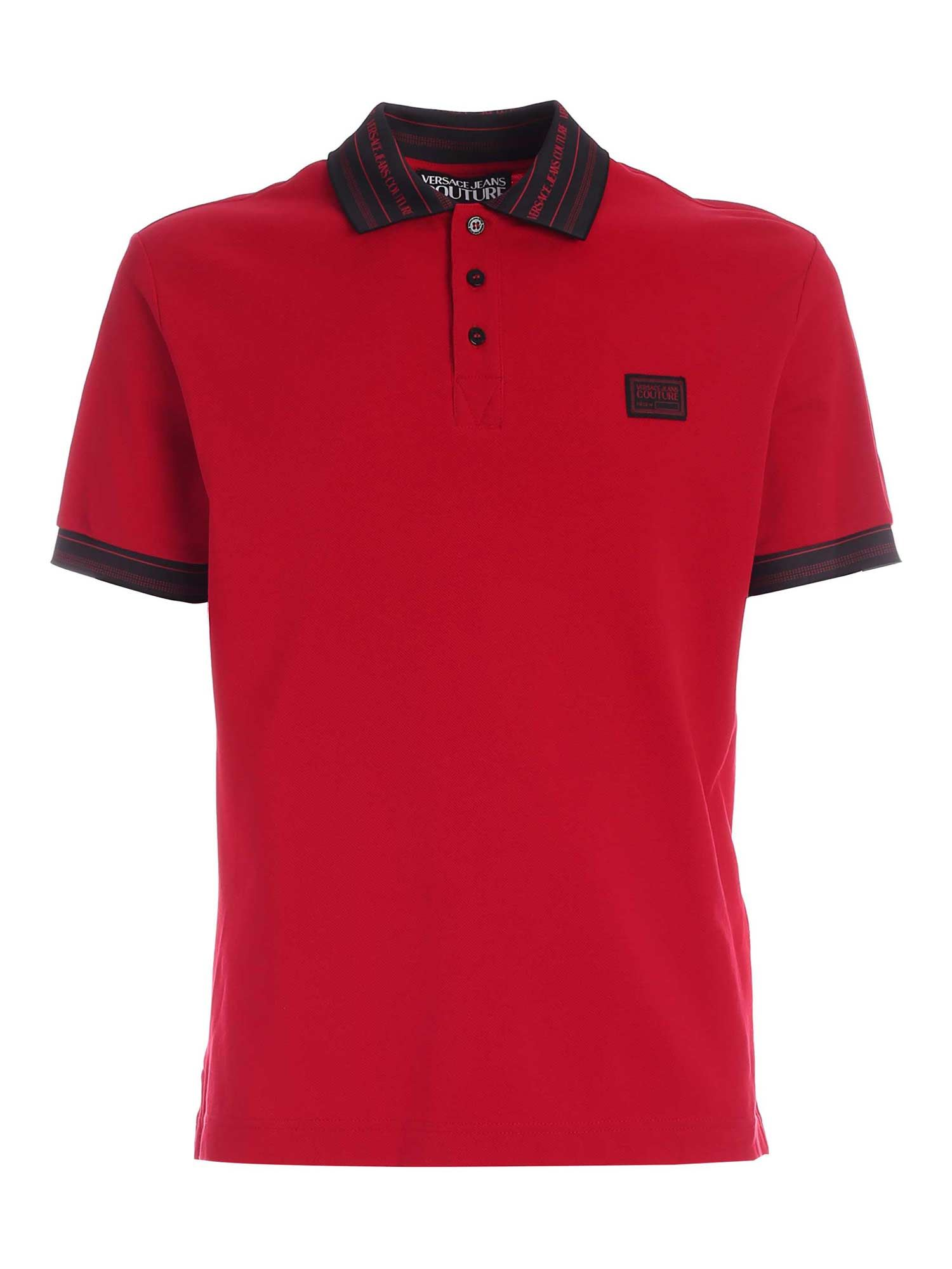 Versace Jeans Couture LETTERING LOGO DETAIL POLO SHIRT IN RED