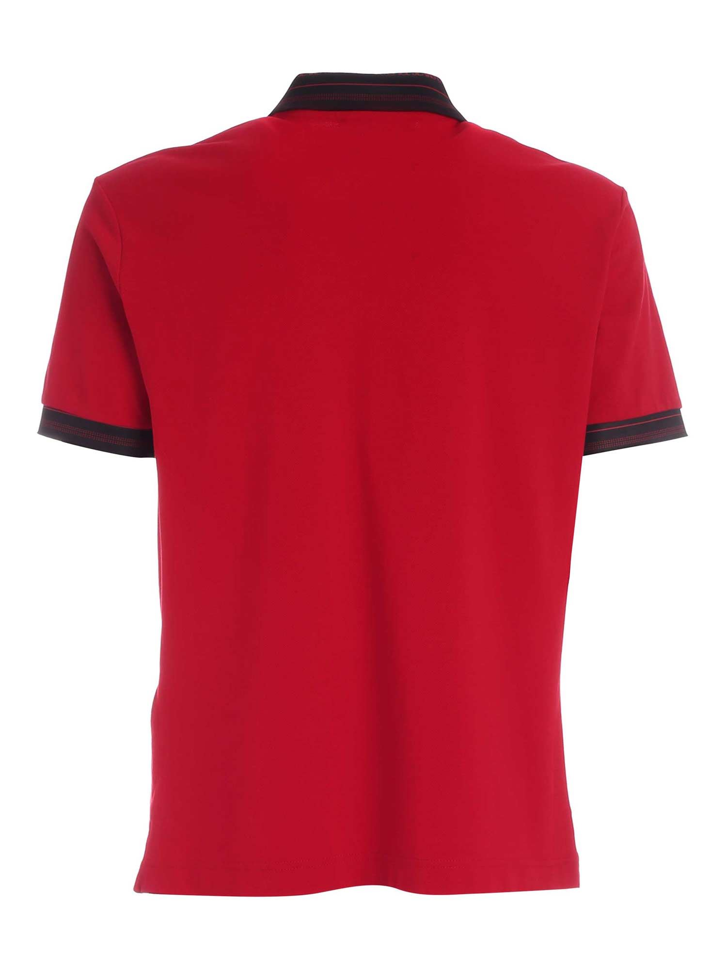 VERSACE JEANS COUTURE Cottons LETTERING LOGO DETAIL POLO SHIRT IN RED