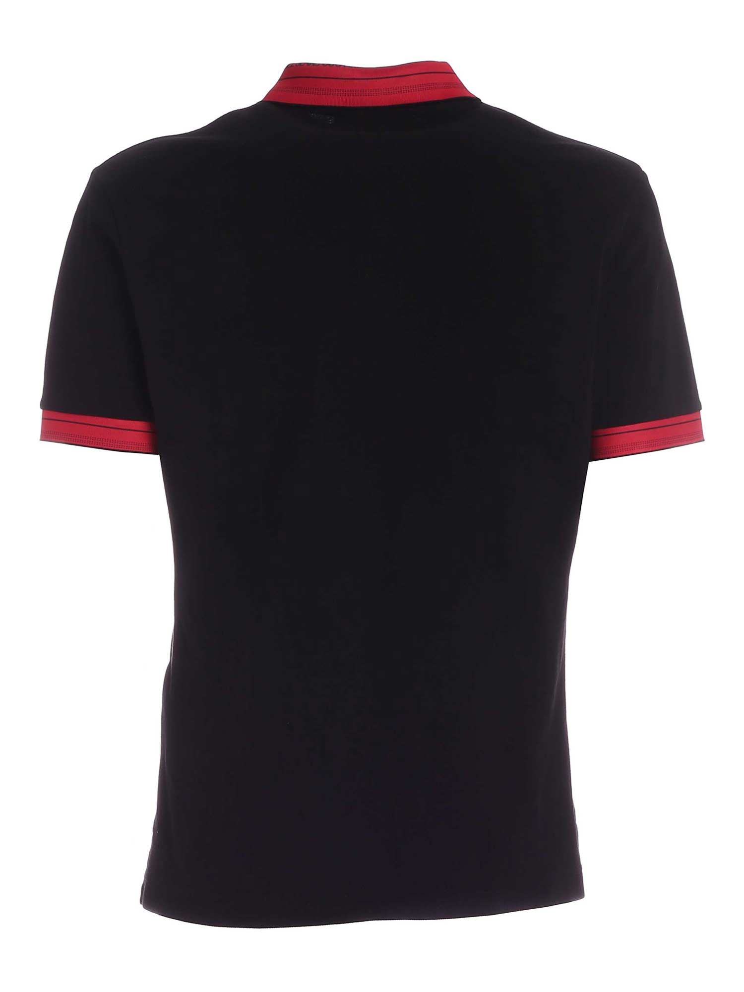 VERSACE JEANS COUTURE Cottons LETTERING LOGO DETAIL POLO SHIRT IN BLACK