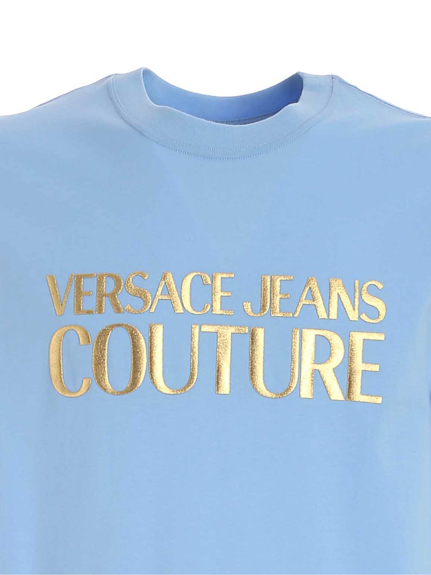 VERSACE JEANS COUTURE Cottons LAMINATED RUBBER LOGO T-SHIRT IN LIGHT BLUE