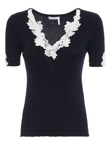 Chloé - Lace T-shirt in blue
